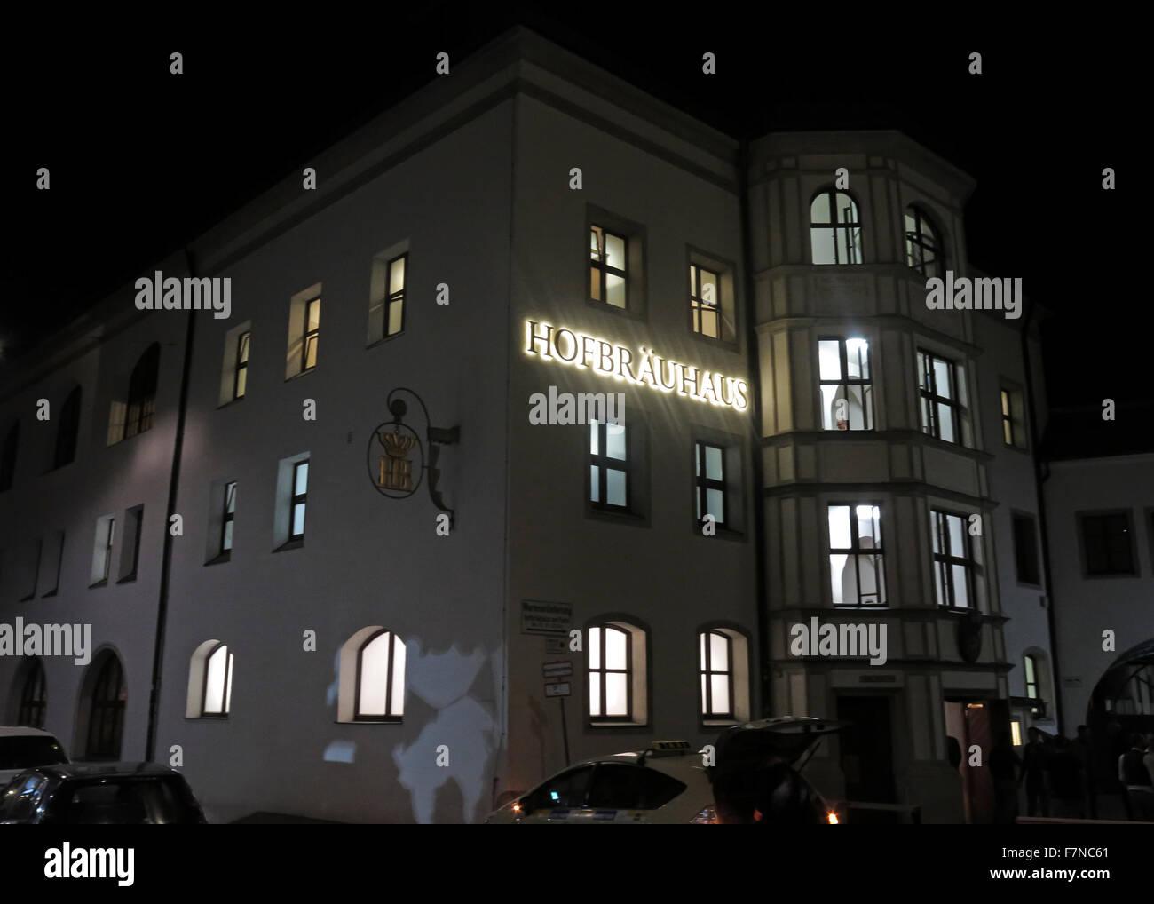 Munich Hofbrauhaus at night,Munchen beer hall, Germany - Stock Image