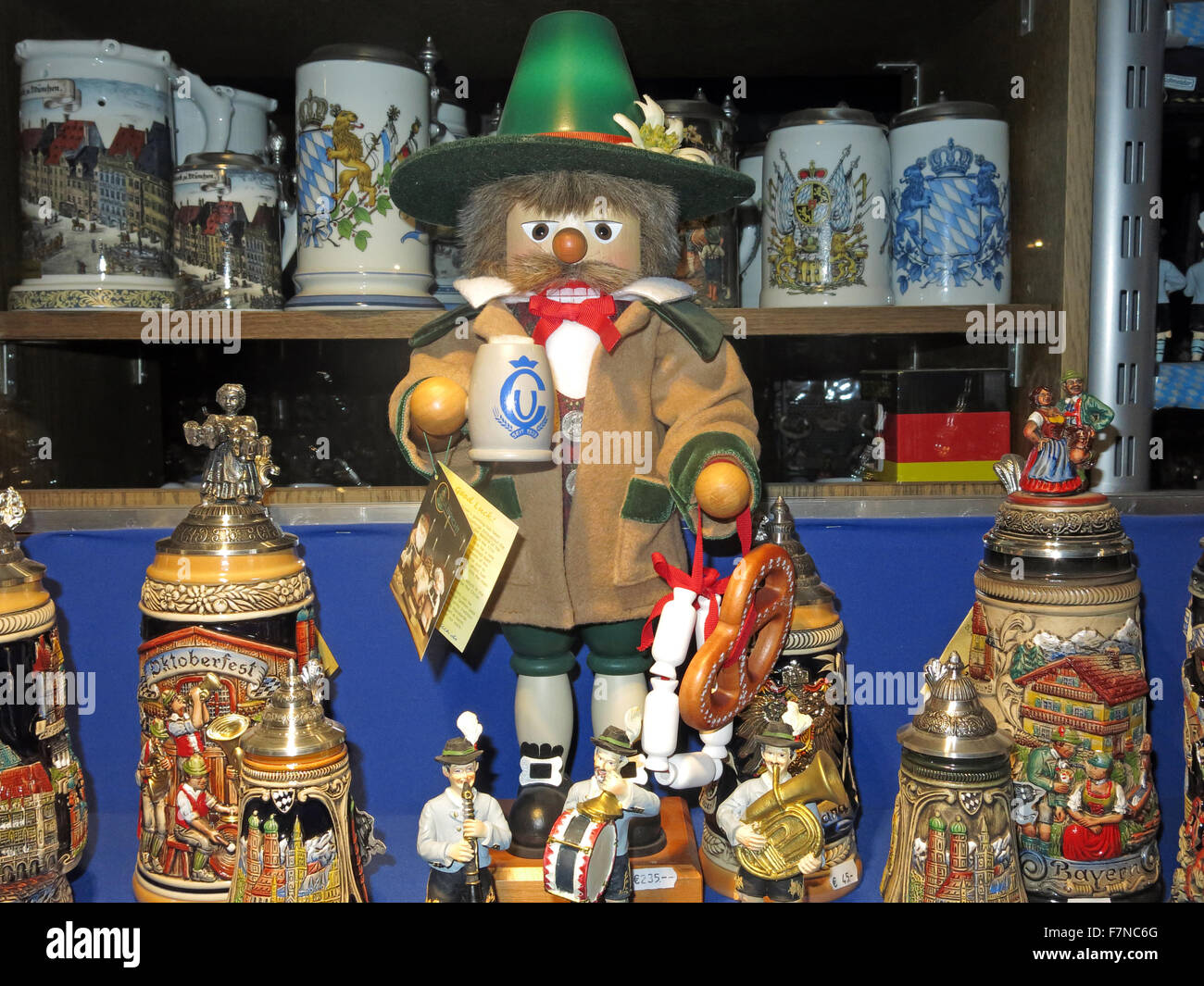 Oktoberfest shop window display, Munich,Germany; Steins, dolls, T-shirts and other souvenirs Stock Photo