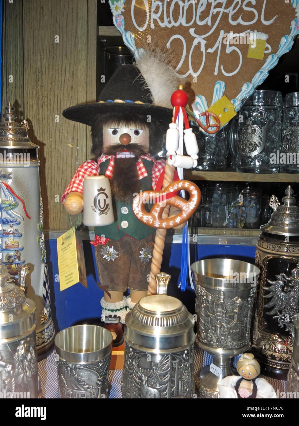 Oktoberfest shop window display, Munich,Germany; Steins, dolls, T-shirts and other souvenirs Stock Photo