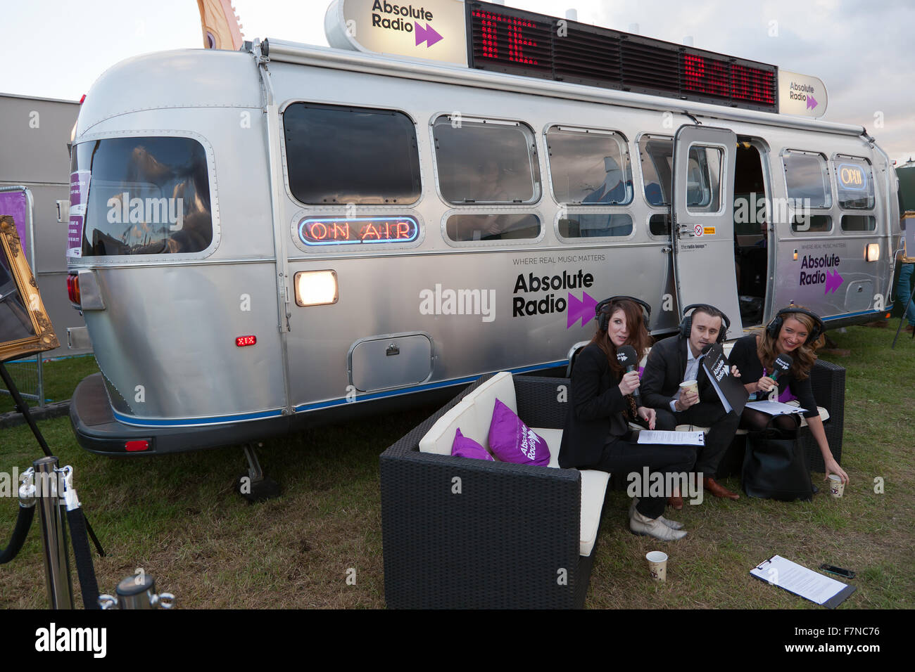 Absolute Radio broadcasting live from the On Blackheath Music Festival 2015 Stock Photo