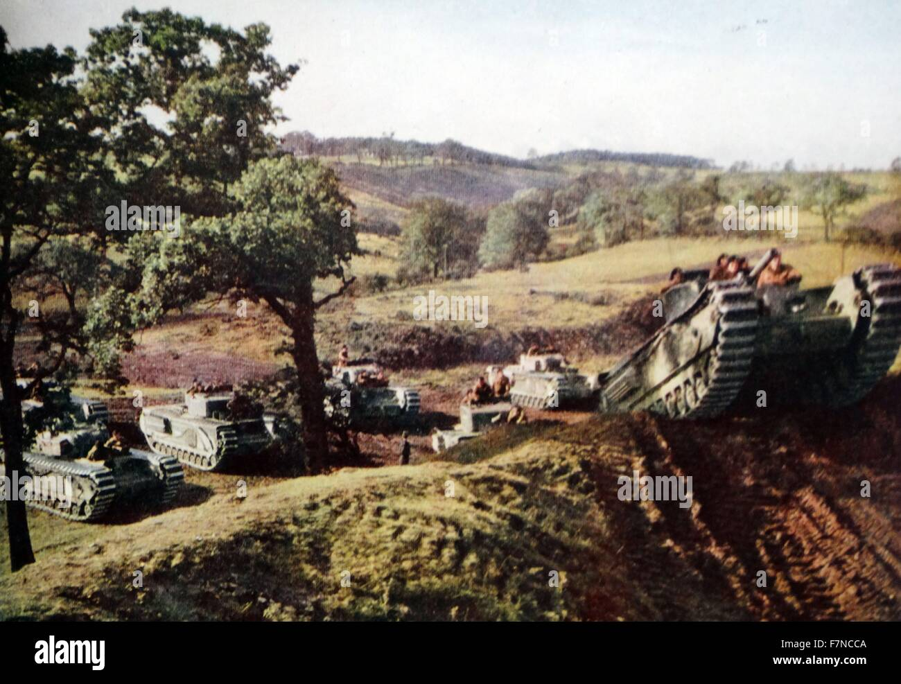 Churchill' tanks on manoeuvres in Britain.  These tanks were first publicly mentioned in July 1941, when the - Stock Image