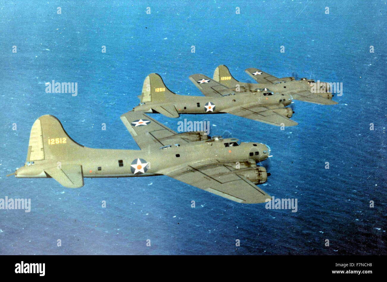 US Air Force B-17E Flying Fortress bombers in flight, USA World War two Stock Photo