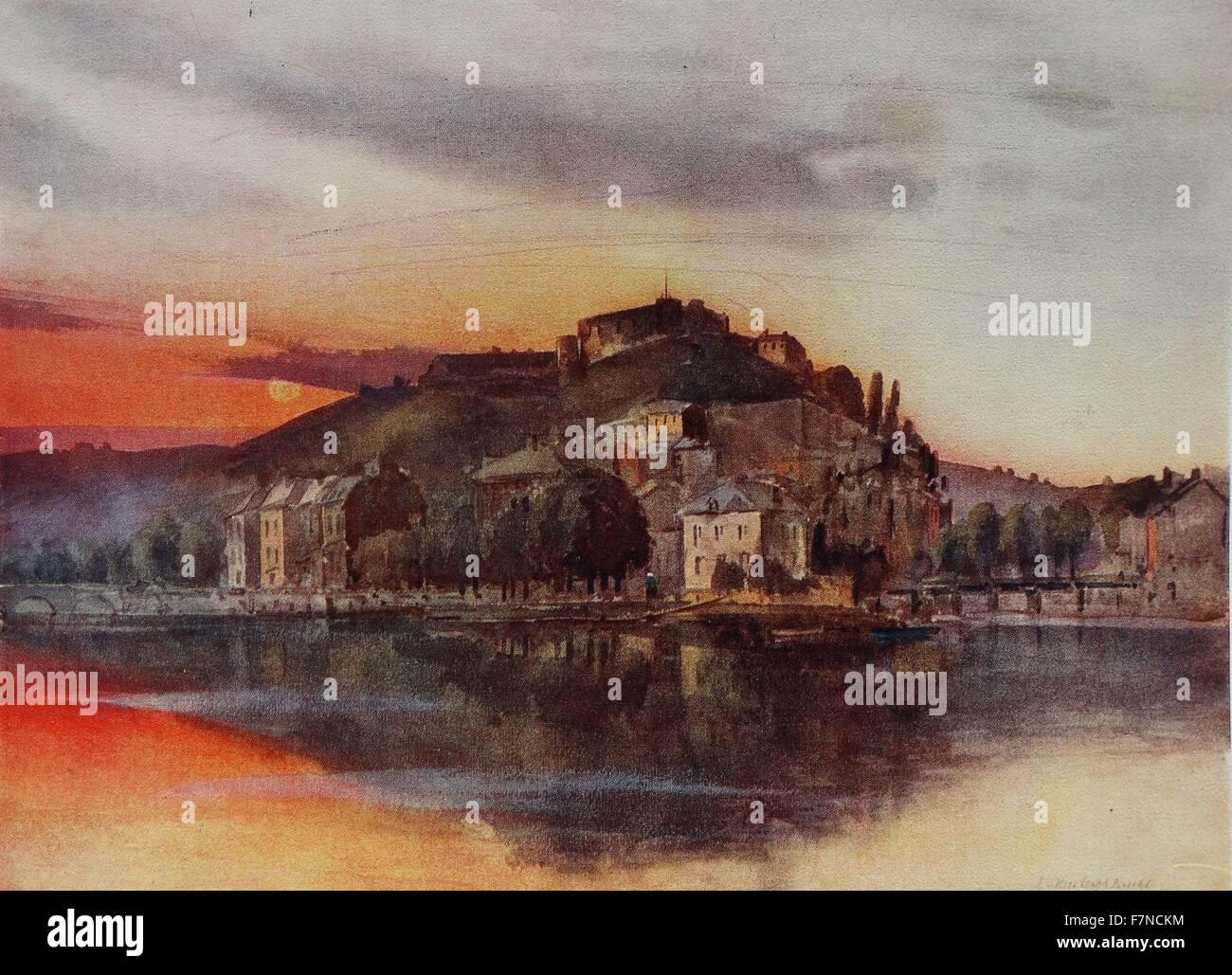 View of Namur and its citadel; Belgium 1914 - Stock Image