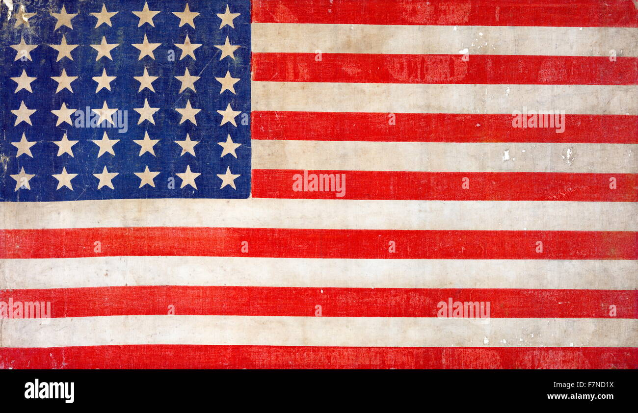 American flag printed as a colour woodcut on linen, celebrates the spirit of reunification in the heady days after - Stock Image