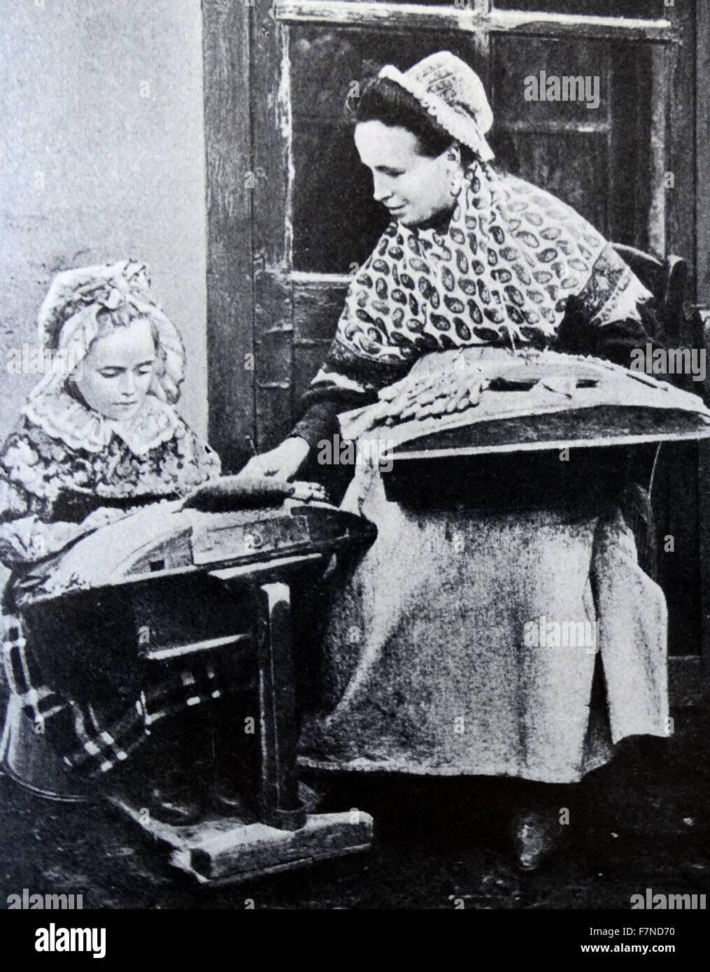 Belgian lacemaker 1900 - Stock Image