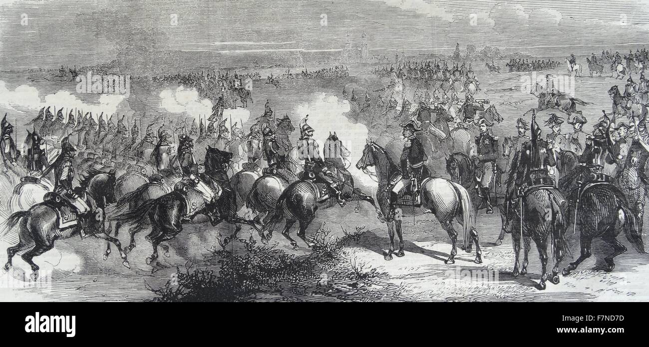 French cavalry at Luneville : A charge of the cuirassiers of the Imperial Guard. - Stock Image