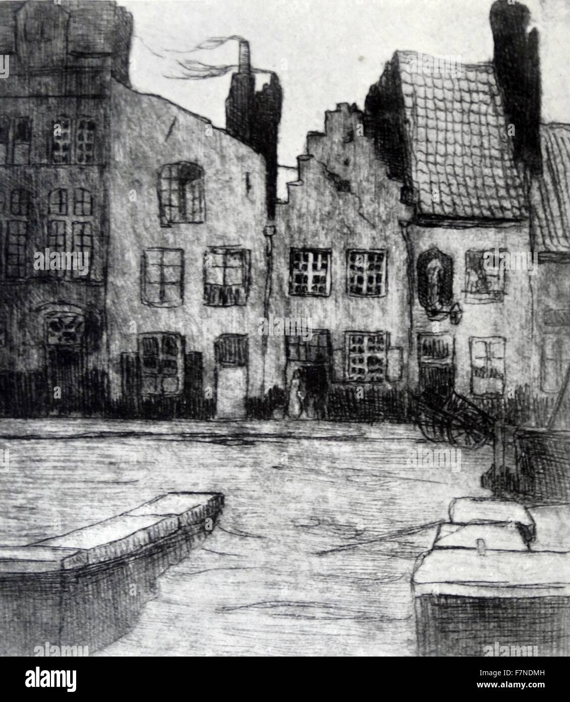 Etching of old-world houses in Ghent, Belgium - Stock Image