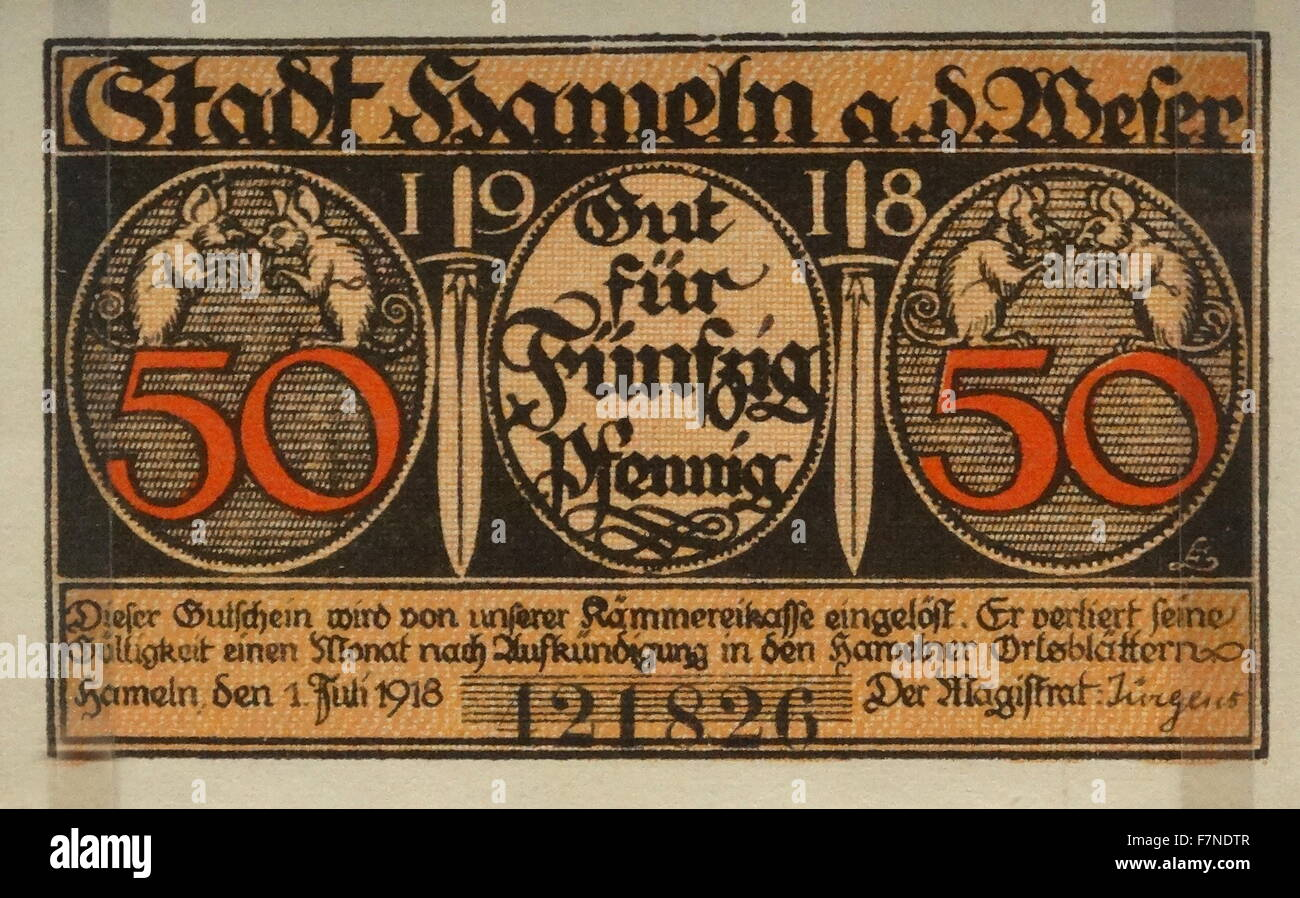 Weimar republic, Notgeld from Hameln, Germany, 1918. Shortage of metal for coins, in Germany, after the First World - Stock Image
