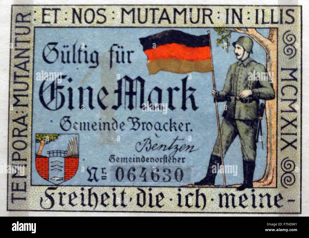 Weimar republic, Notgeld from messel, Germany, 1922. Shortage of metal for coins, in Germany, after the First World - Stock Image