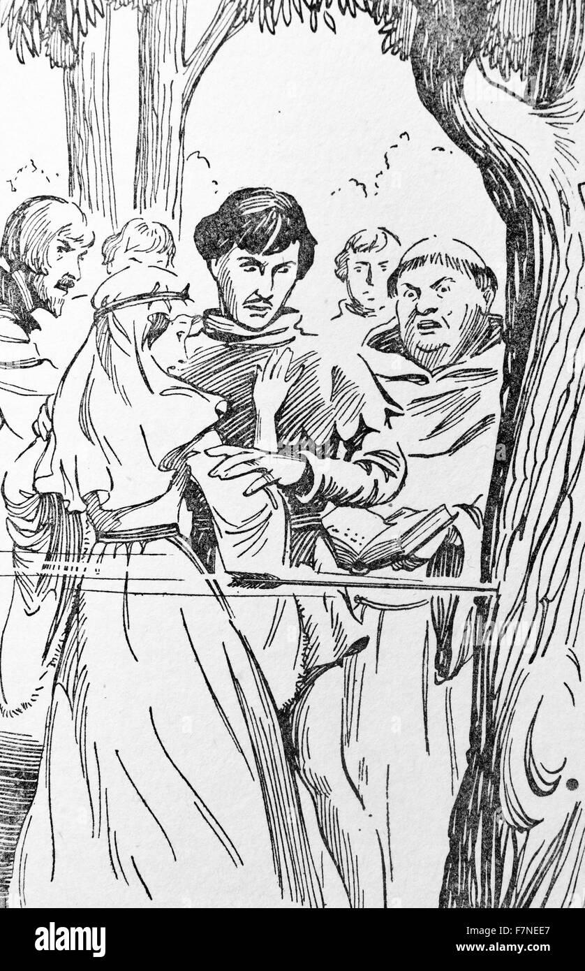 Robin Hood and his Merry Men - an arrow narrowly misses Marian. 1920 - Stock Image