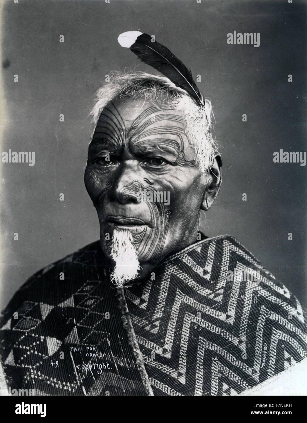 New Zealand, Maori chieftain Mahi Poki Orakei by Elizabeth Pulman 1869 - Stock Image