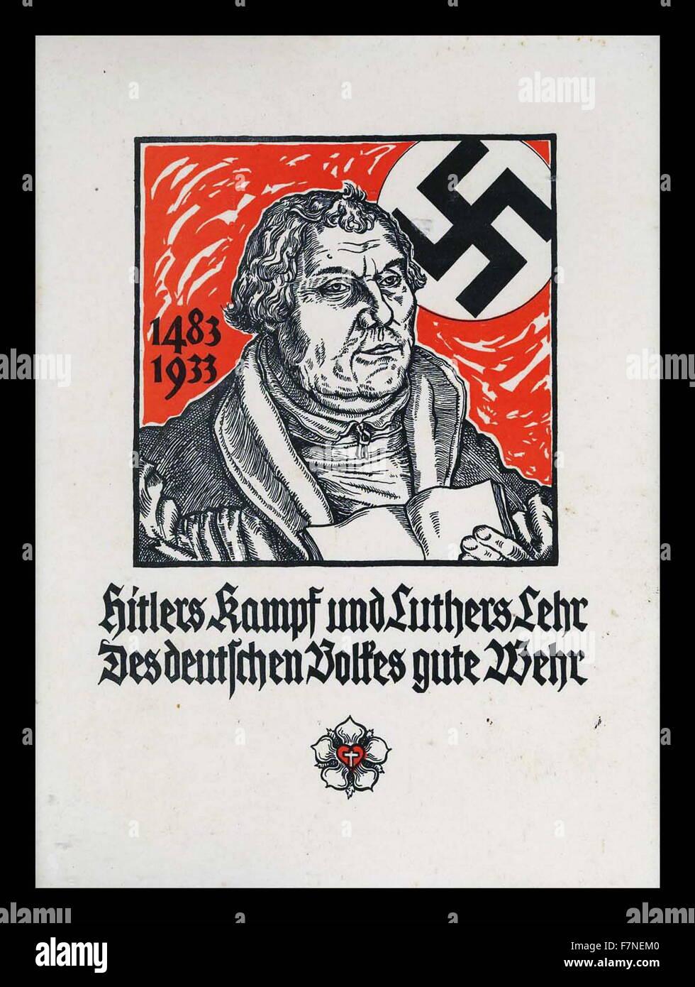 Hitler's Kampf und Luther's Lehr Des deutschen Volkes gute Wehr (Hitler's fight and Luther's teaching - Stock Image