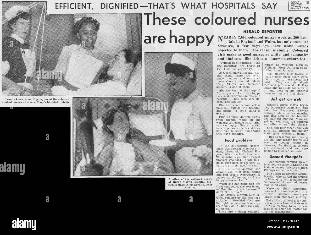 Newspaper article featuring coloured nurses of the National Health Service. Dated 1955 - Stock Image