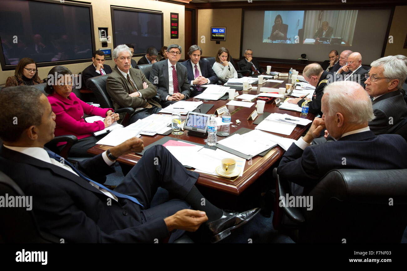 President Obama conveying a National Security Council meeting in the Stock  Photo - Alamy
