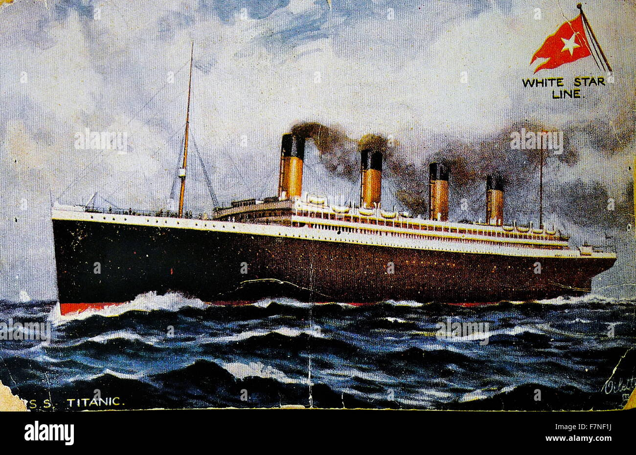 Pre-disaster postcard, front depicting the Titanic. Dated 1907 - Stock Image