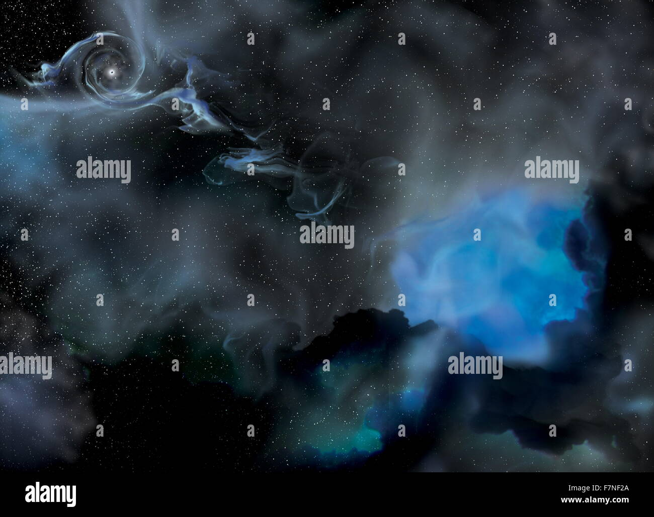 Artist portrayal of the IC 10 X-1 system, black hole lies at the upper left and its companion star is on the right. - Stock Image