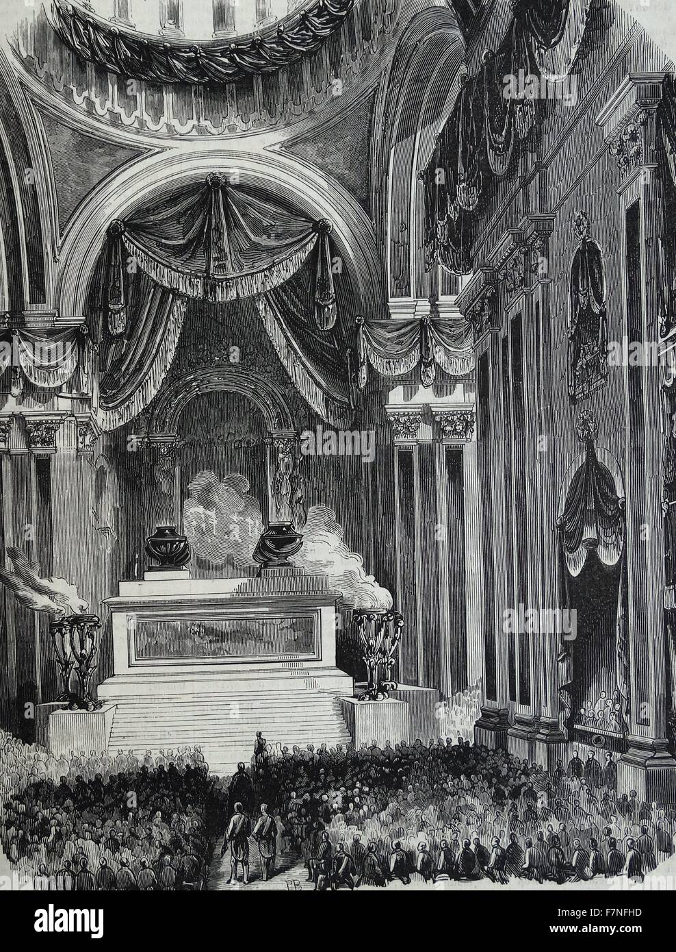 Funeral ceremony celebrated in Madrid in honor of Donoso Cortes (1809-1853) a Spanish author, conservative and catholic - Stock Image