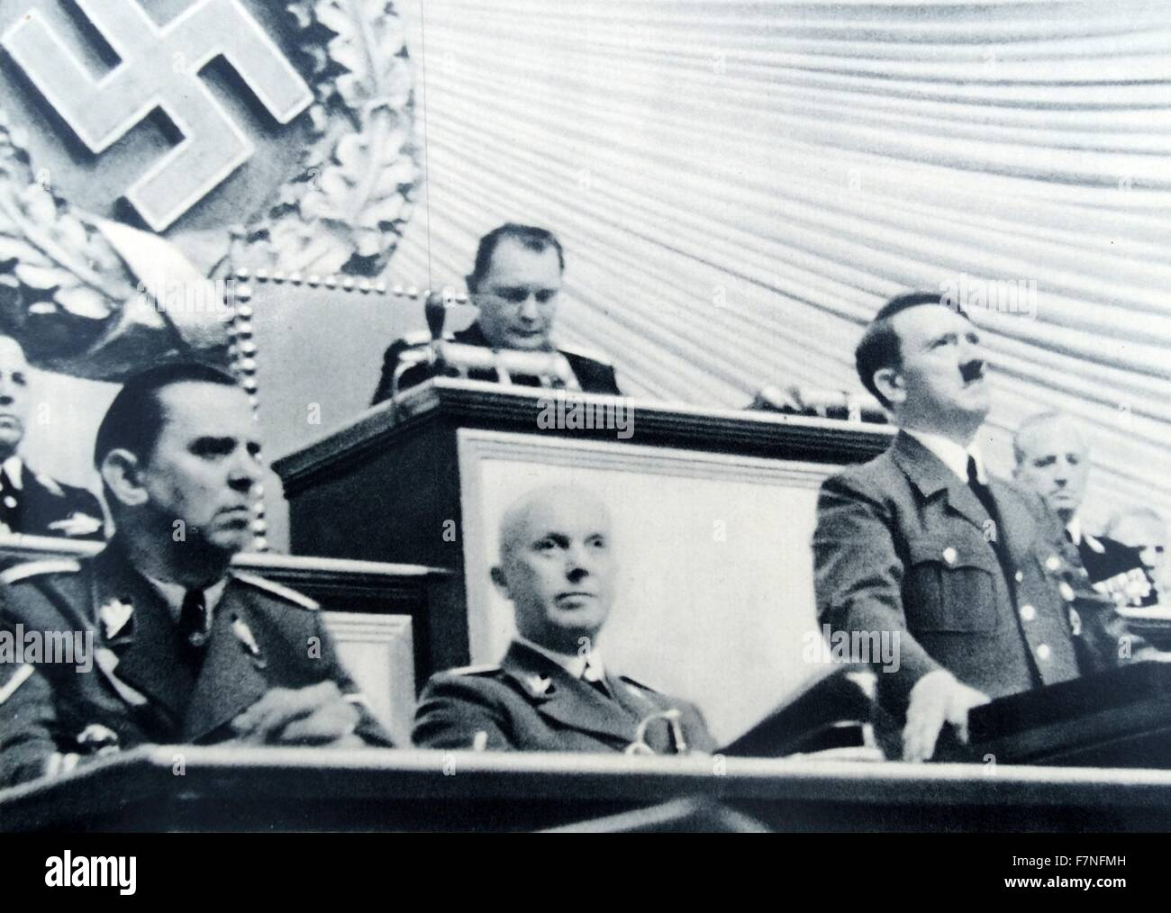 Adolf Hitler addresses the reichstag on 1st September 1939,  just before the invasion of poland - Stock Image