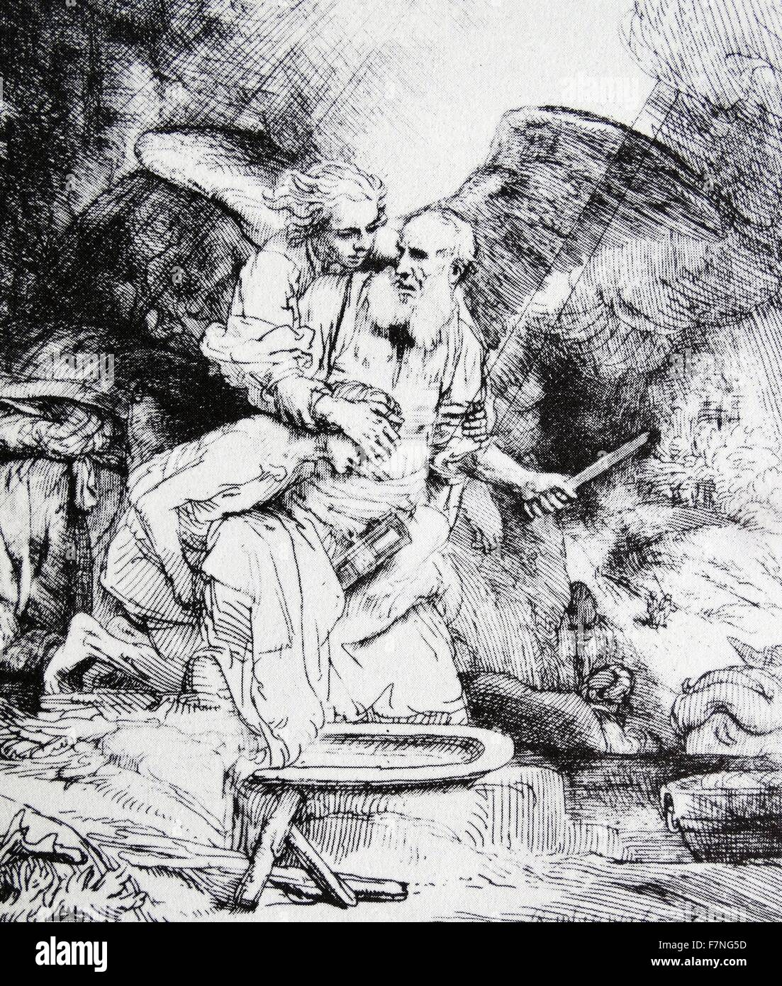 The Sacrifice of Abraham (etching).  Rembrandt (1606-1669) - Stock Image