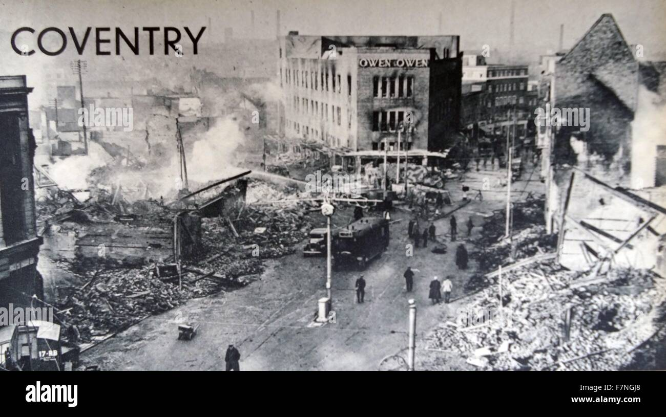 On the night of November 14th 1940, the Luftwaffe attacked Coventry. - Stock Image
