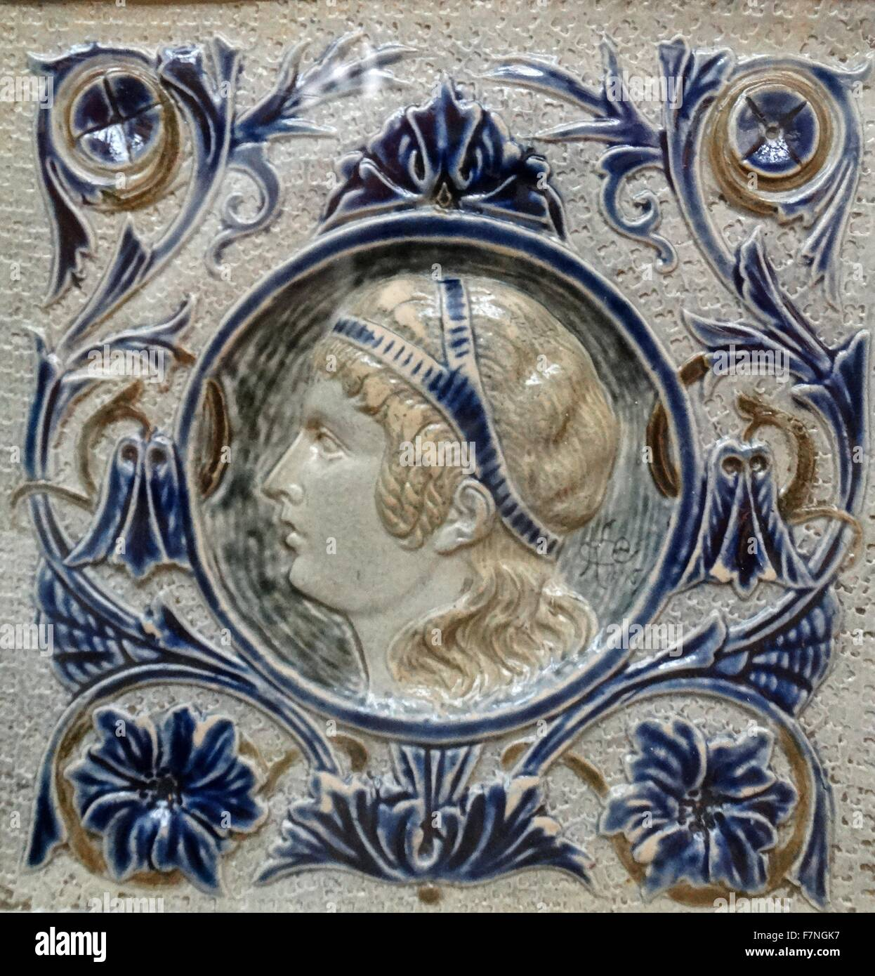 19th Century English ceramic tile - Stock Image