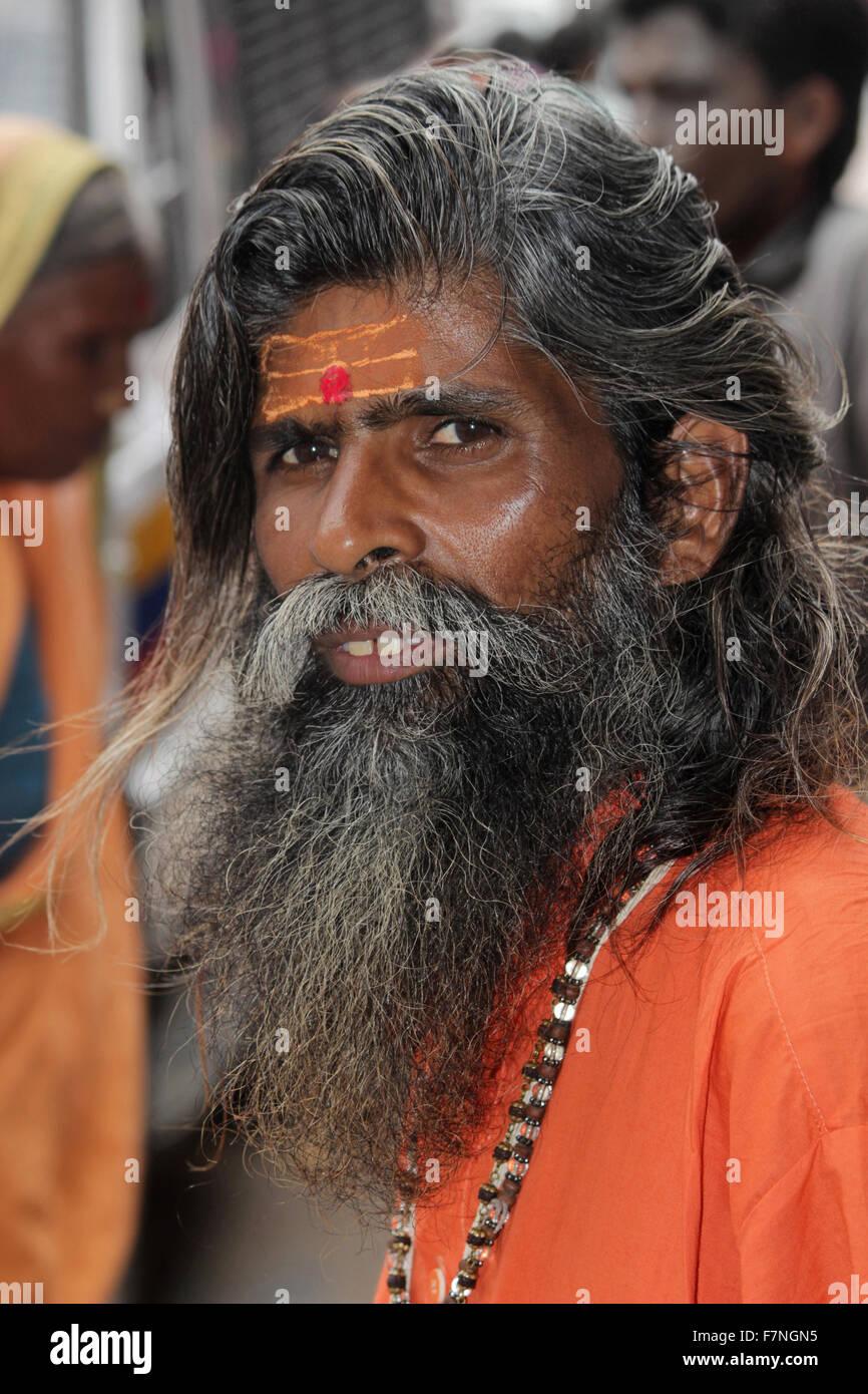Sadhu with painted forehead Kumbh Mela, Nasik, Maharashtra, India - Stock Image