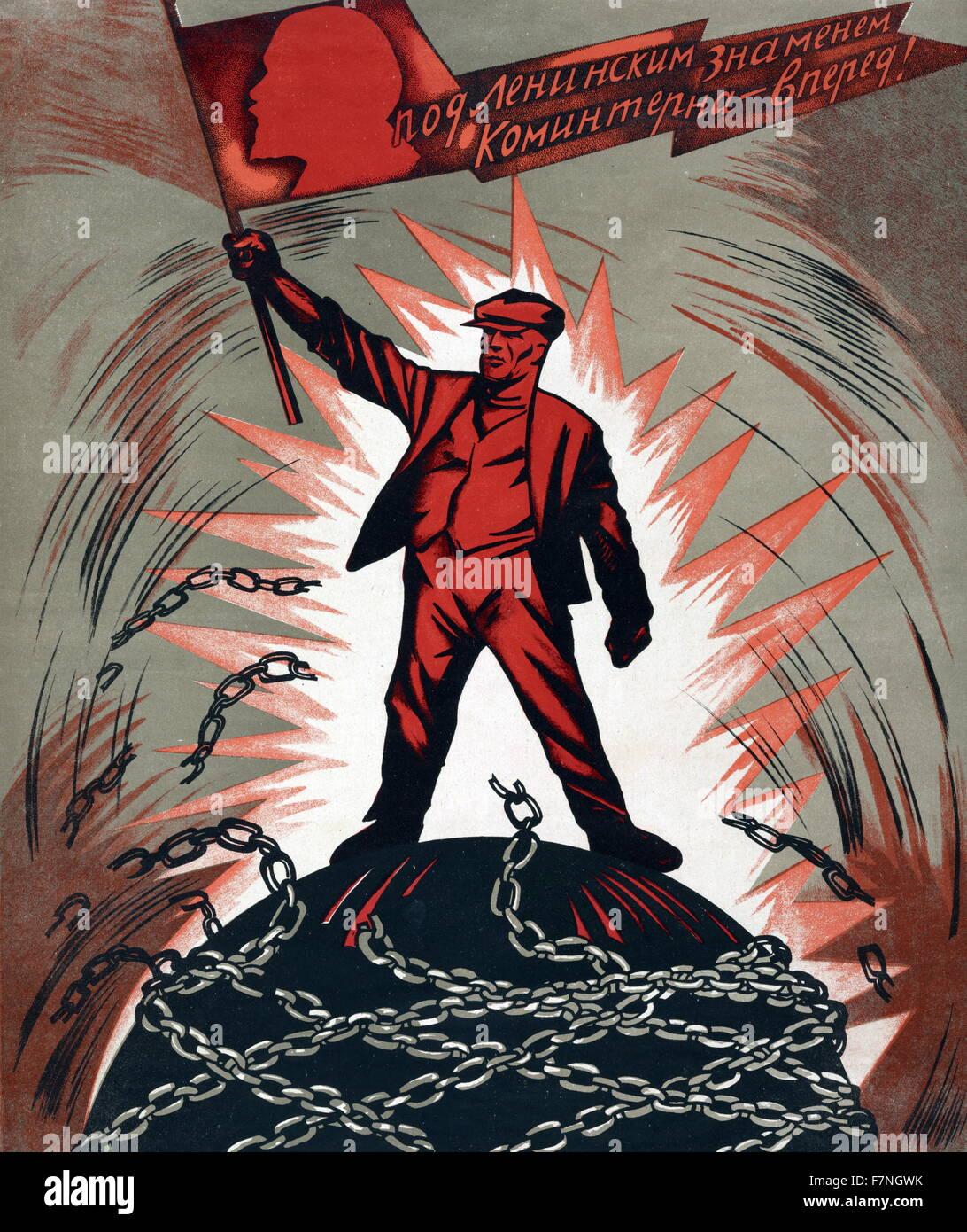 Soviet Russian propaganda poster. 1929 - Stock Image