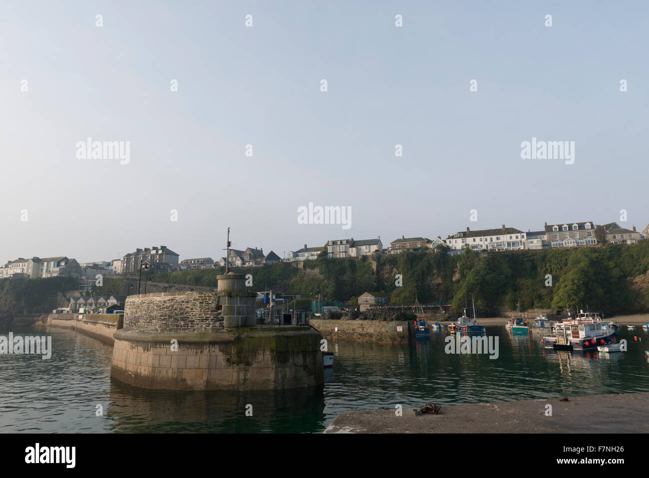Early morning just after sunrise at Newquay, Harbour, Cornwall, UK on an october day. - Stock Image