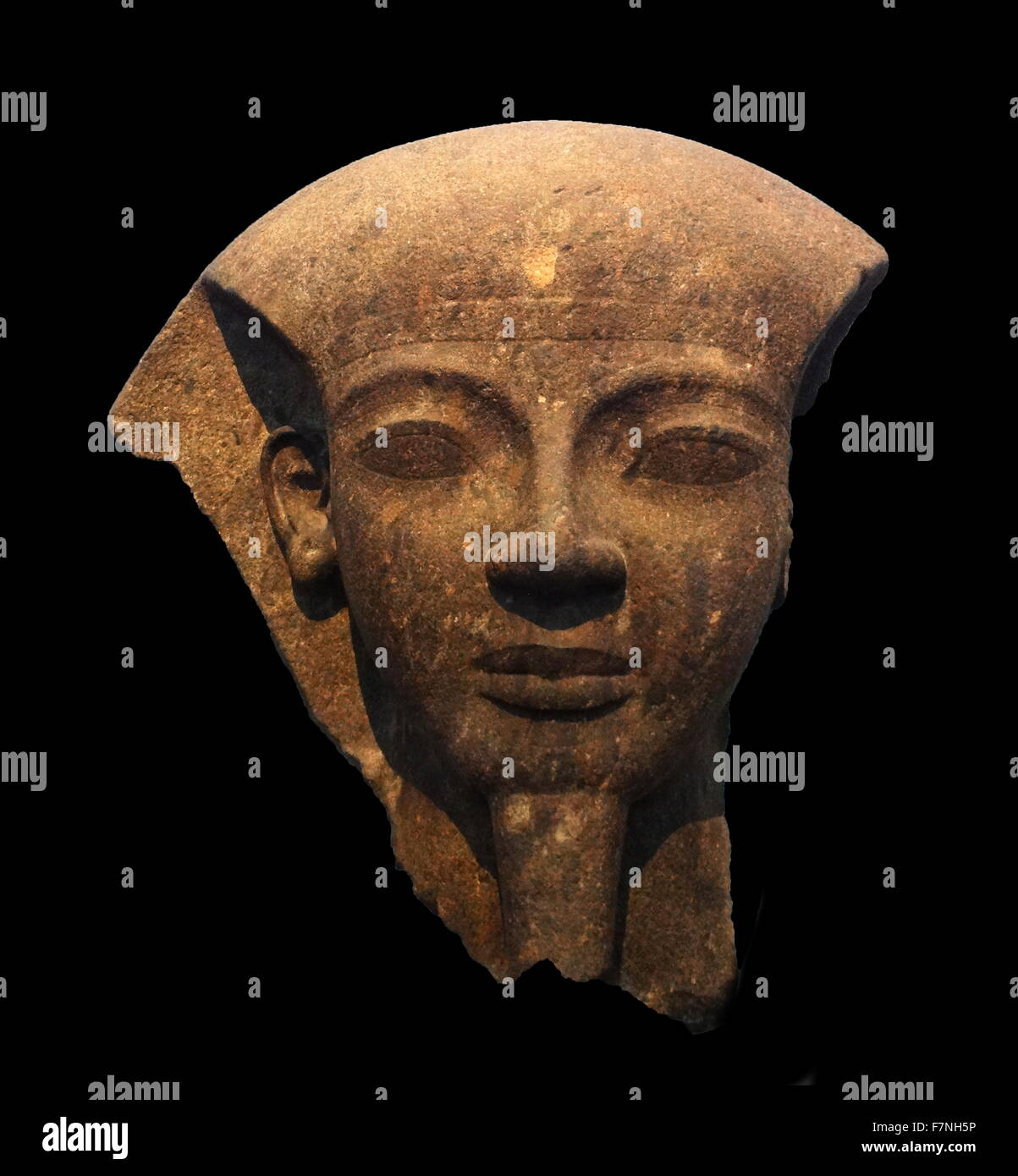 King Ramesses VI. fragment of the lid of the monarch's mummiform sarcophagus. Ramesses is shown as Osiris, ruler - Stock Image
