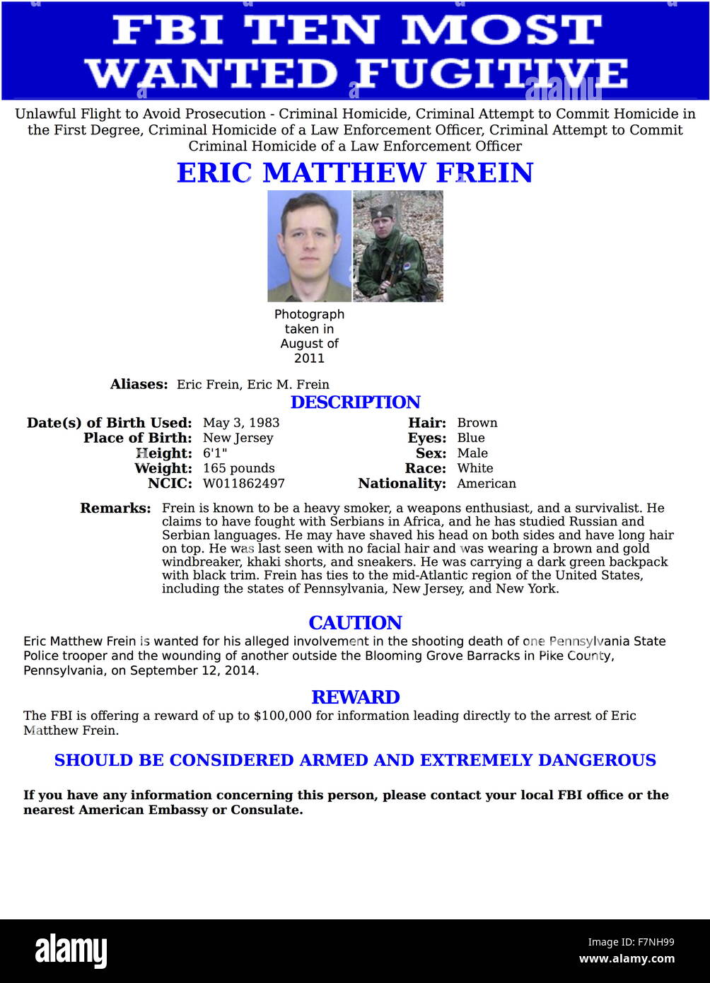 Top Ten Most Wanted notice issued by the FBI for Eric Matthew Frein (1983-) wanted for his alleged involvement in - Stock Image