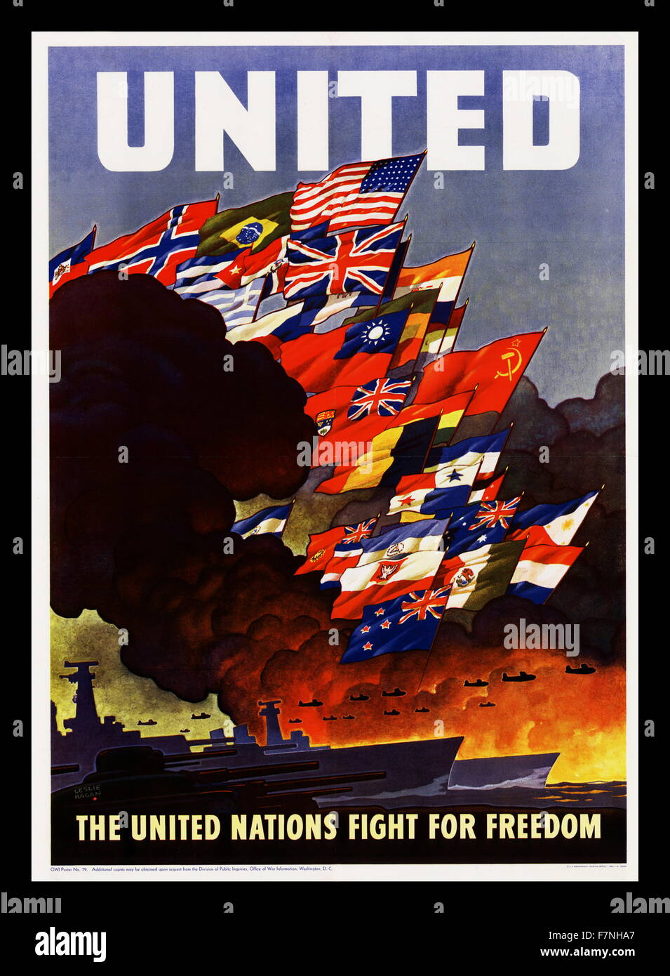 United Nations Second World War poster - Stock Image