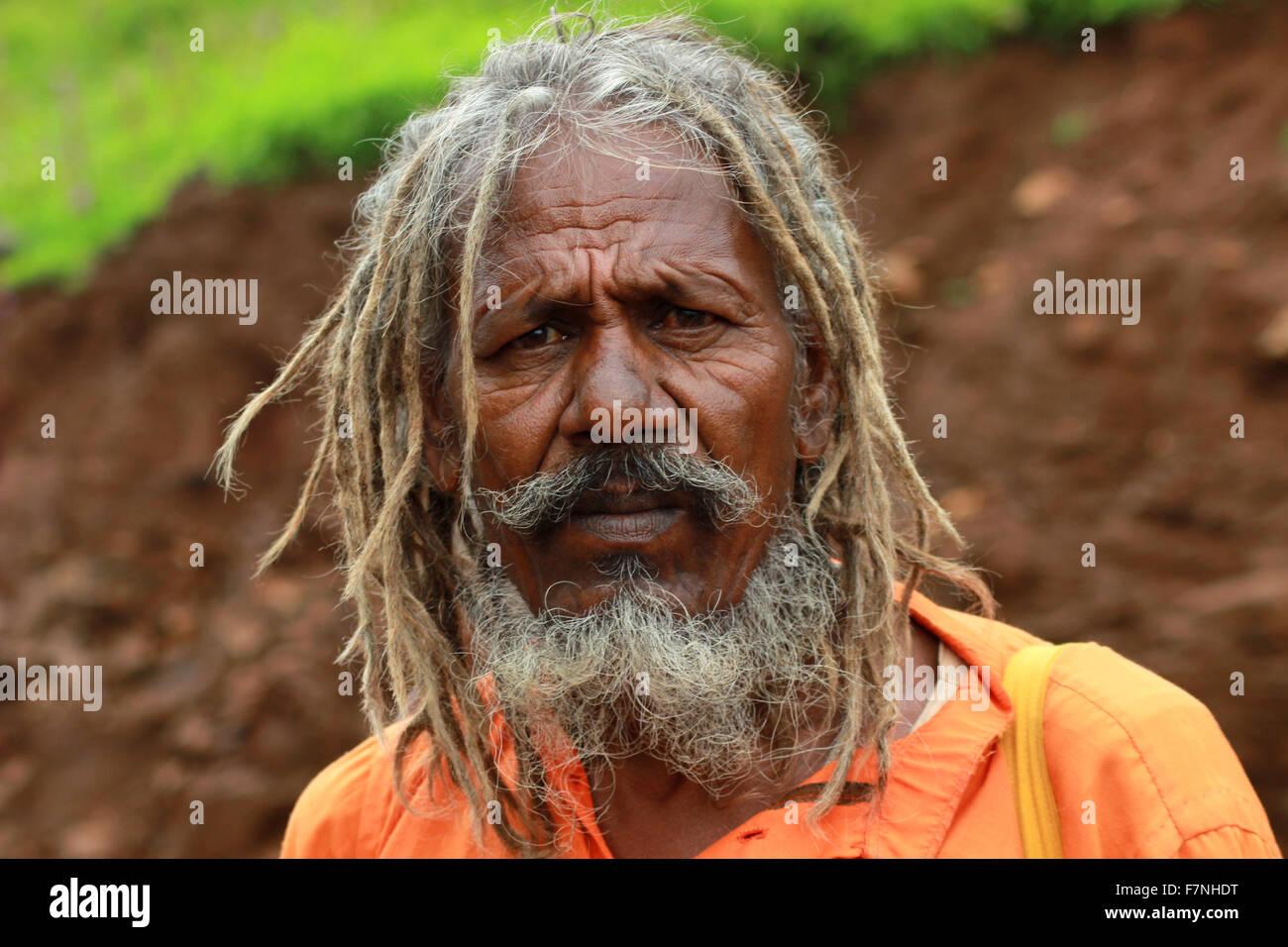 Sadhu with matted hair. Kumbh Mela ,Nasik, Maharashtra, India - Stock Image
