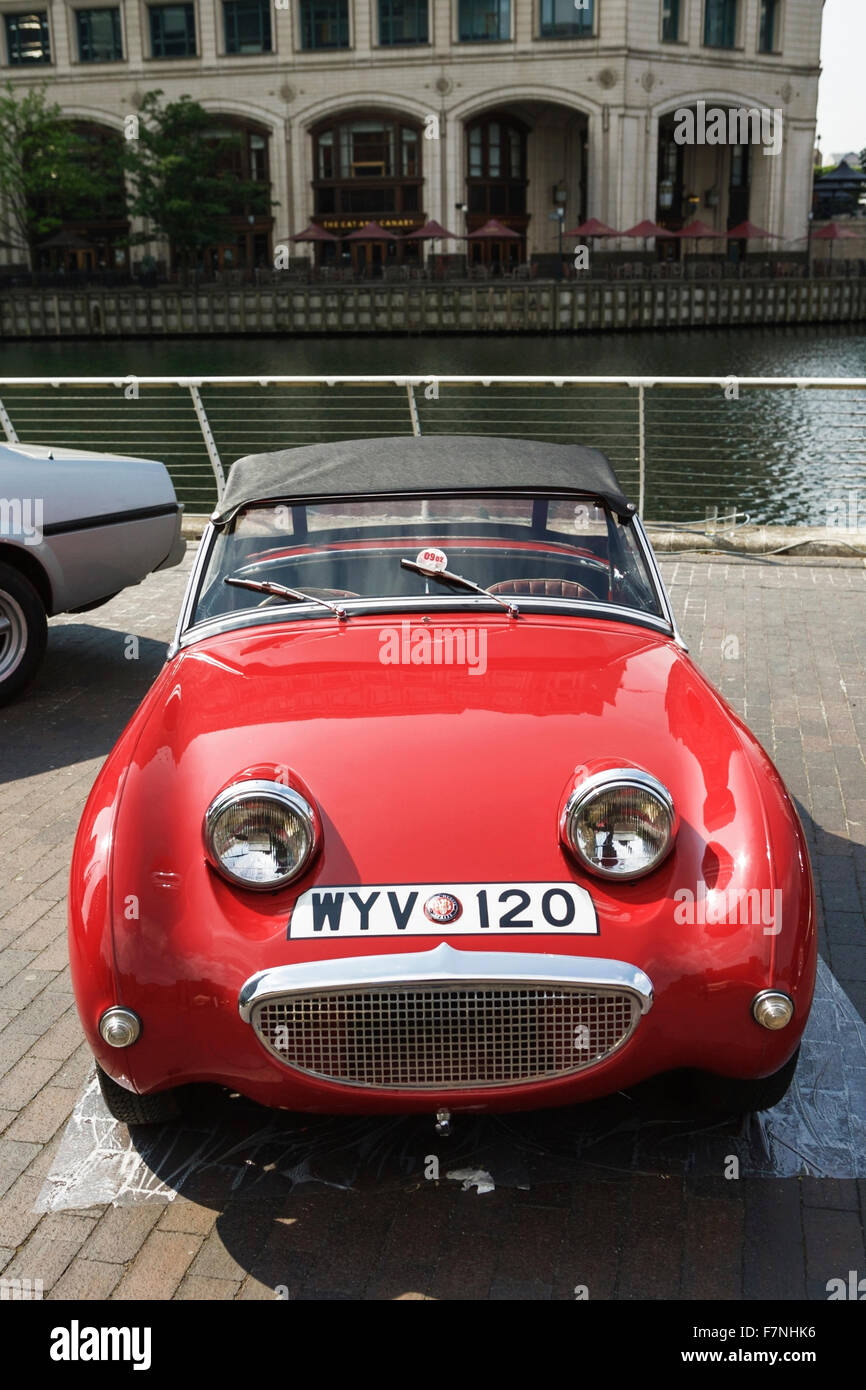 Austin Healy Frog Eyed Sprite, Old English red sports car, London, UK. 1950s British car. British design classics. - Stock Image