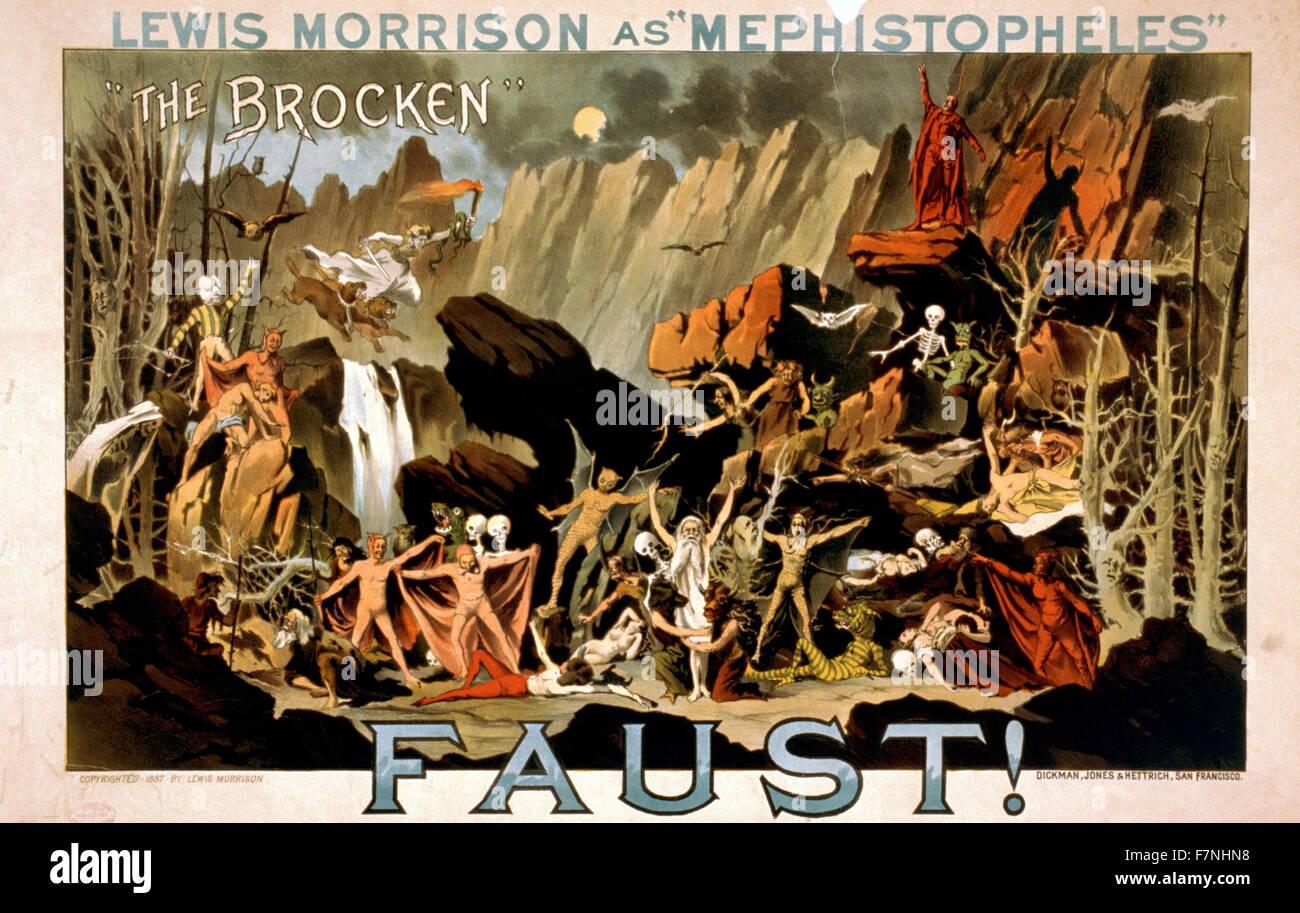 Lewis Morrison as Mephistopheles in Faust. By Jones & Hettrich Dickman, San Francisco. - Stock Image