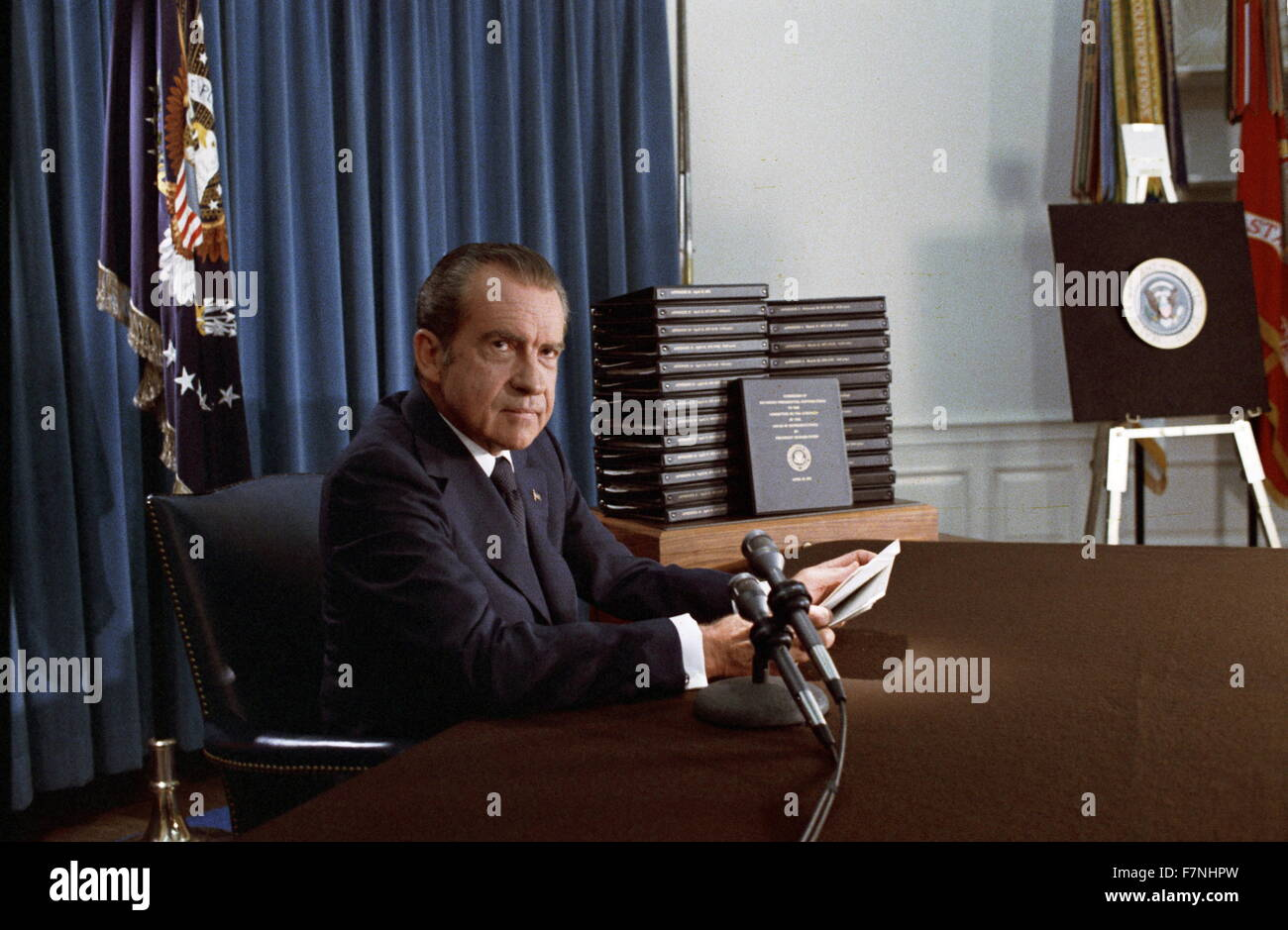 Colour photograph of President Richard Nixon (1913-1994) 37th President of the United States. Dated 1974 - Stock Image