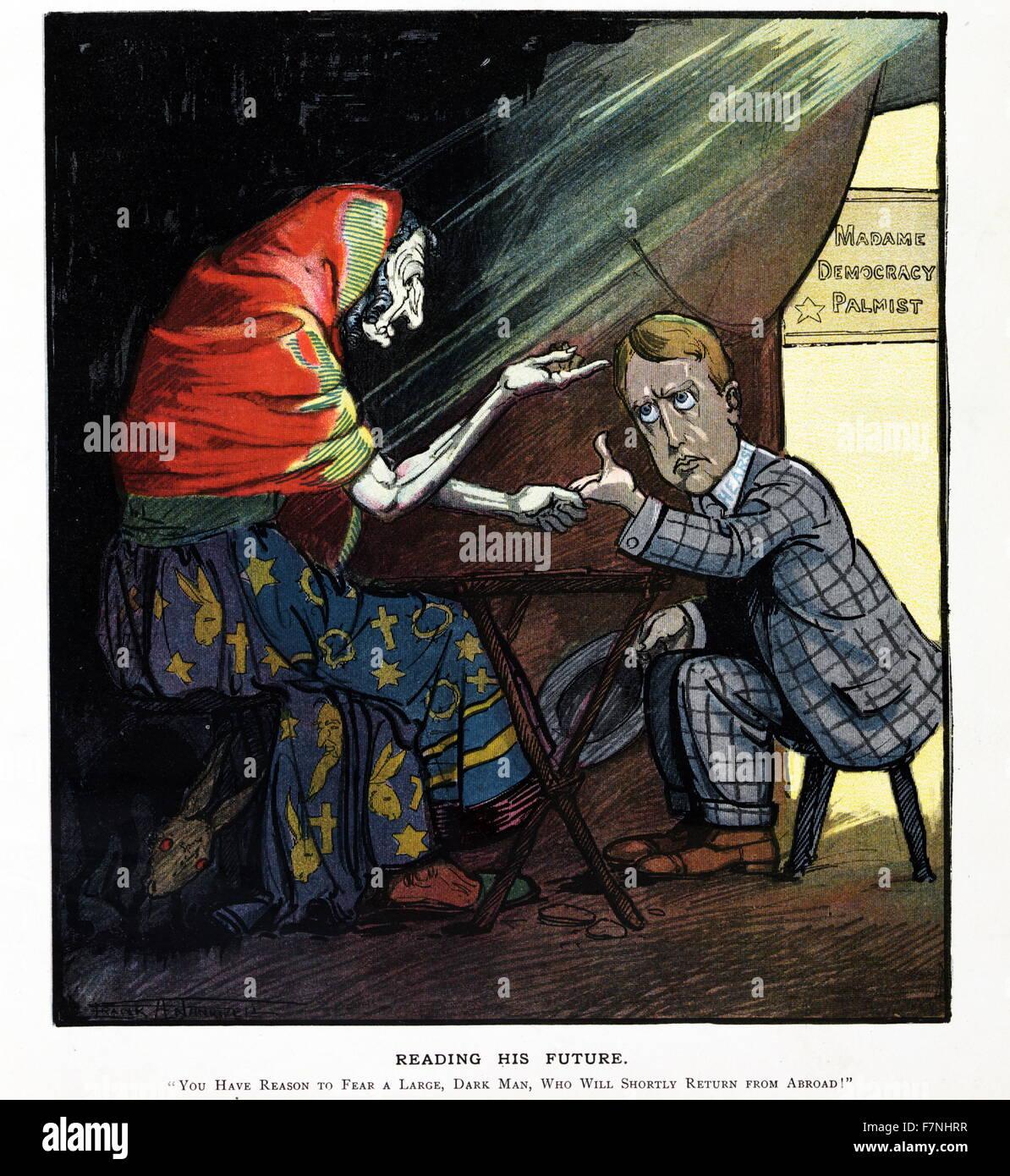 Political Satire Illustration Depicting Madame Democracy Palmist