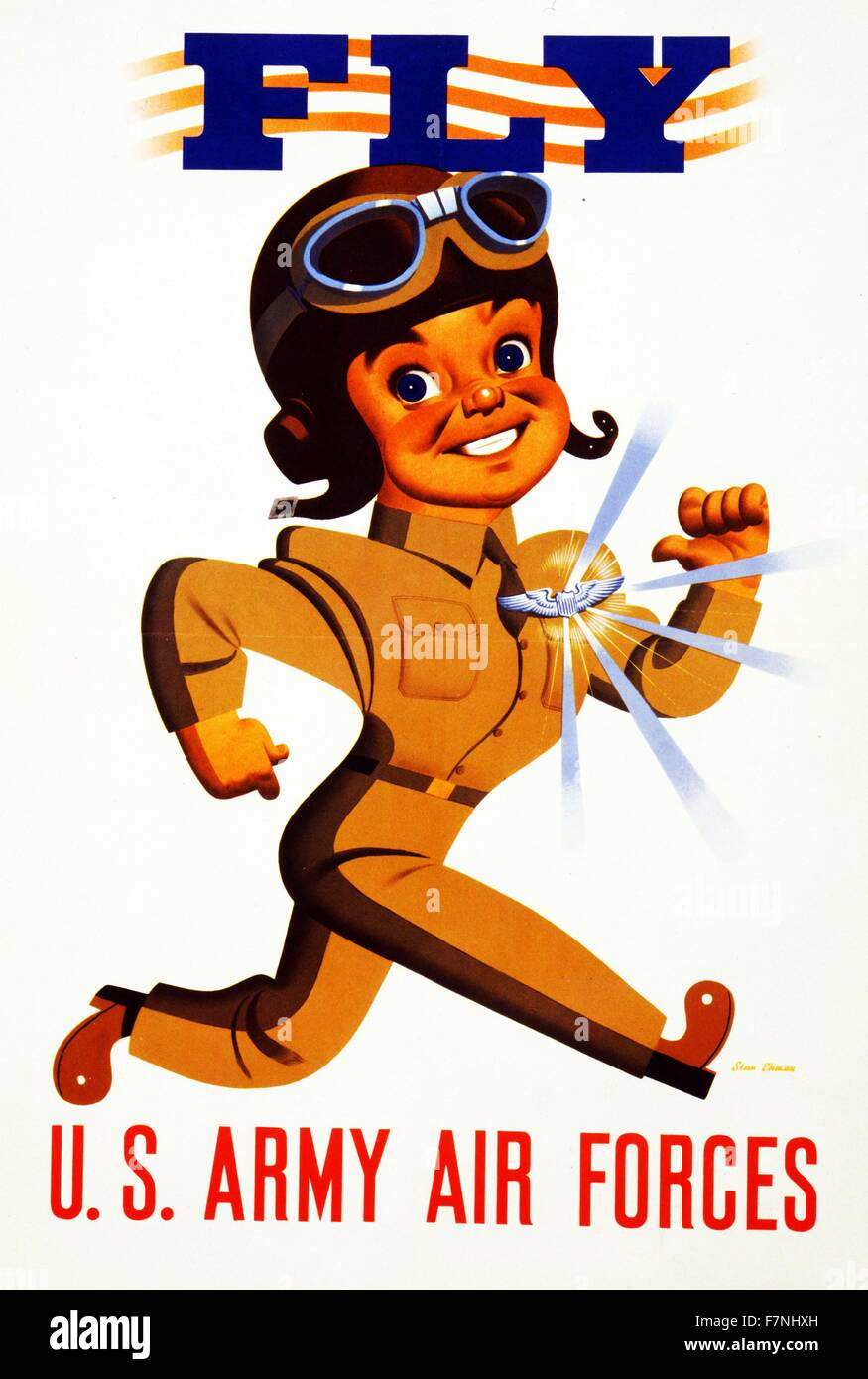Fly - U.S. Army Air Forces 1942 Poster showing a pilot wearing shining wings on his chest. - Stock Image