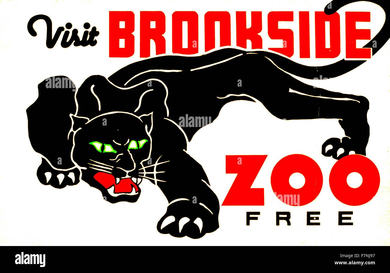 Visit Brookside Zoo free. Federal Art Project poster 1937 - Stock Image