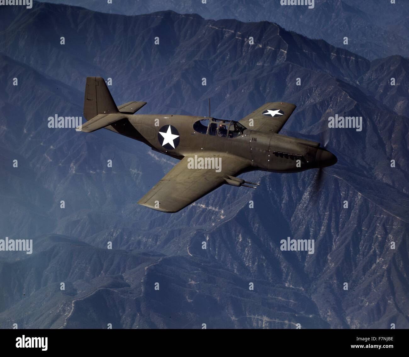 World War Two: P-51 'Mustang' fighter in flight, Inglewoof, Calif. The 'Mustang', built by North - Stock Image