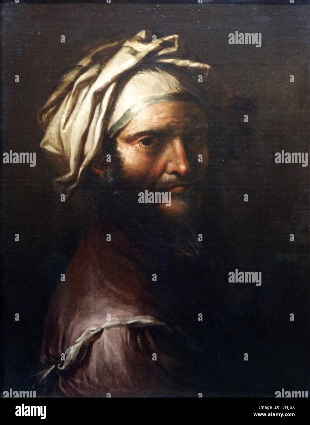 Head of a Man with a Turban by Salvator Rosa (1615-1673) Italian Baroque painter, poet and printmaker. Dated 17th Stock Photo