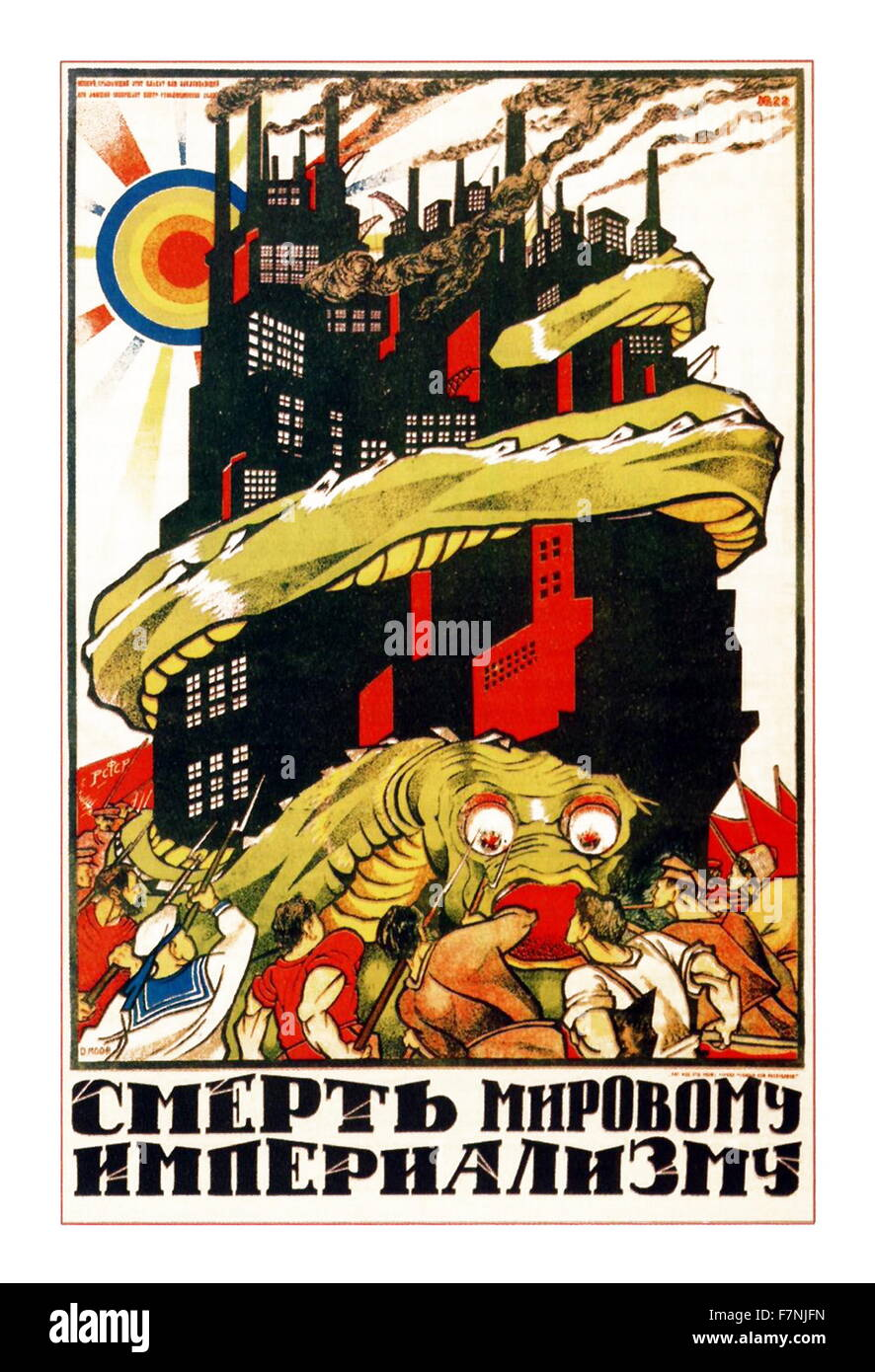 soviet Russian propaganda poster depicting 'Death to world imperialism!' 1921 - Stock Image