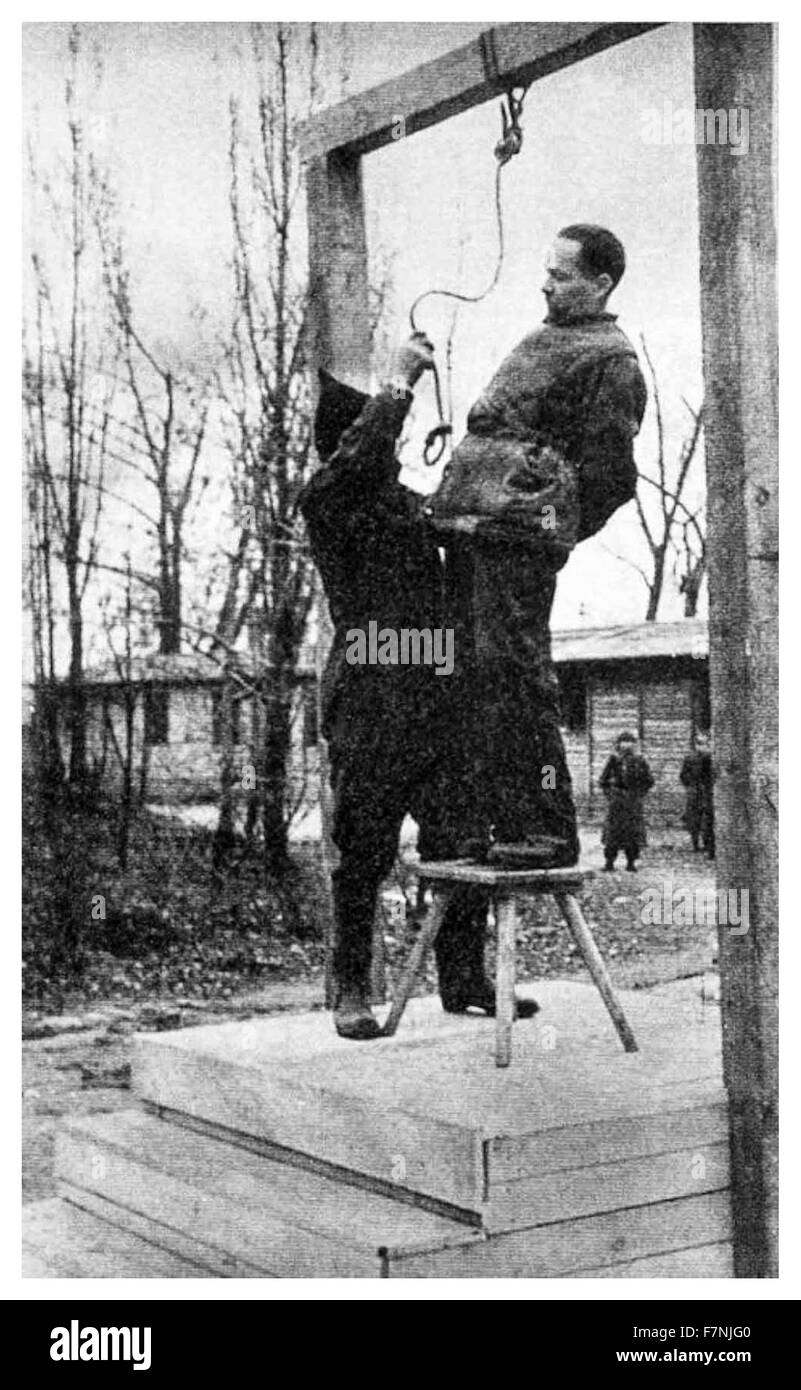 Rudolf Hoess, commandant of the Auschwitz concentration camp, hanged next to the crematorium at the death camp, - Stock Image