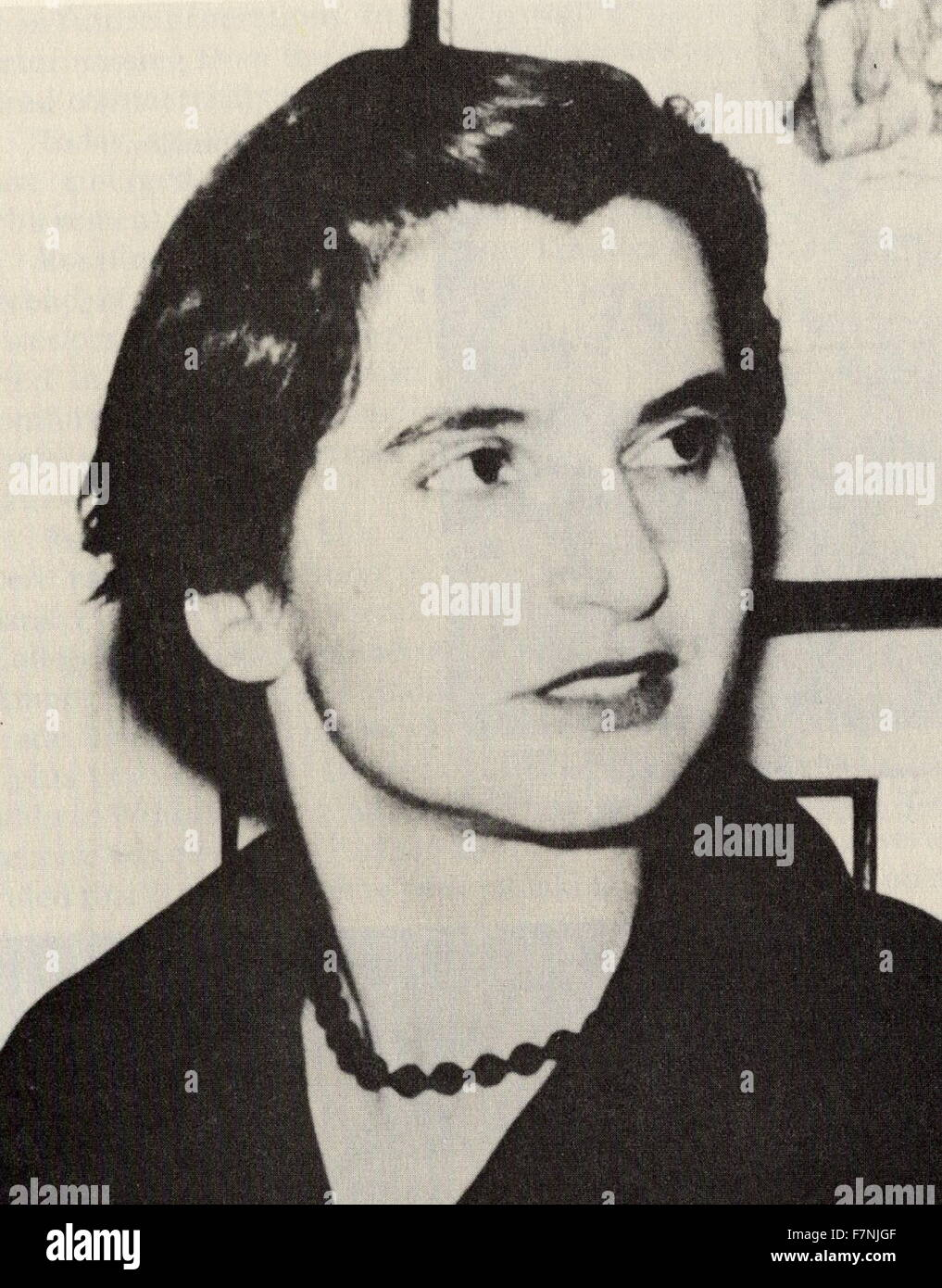 Rosalind Elsie Franklin (1920 – 16 April 1958). English chemist and X-ray crystallographer who made contributions - Stock Image