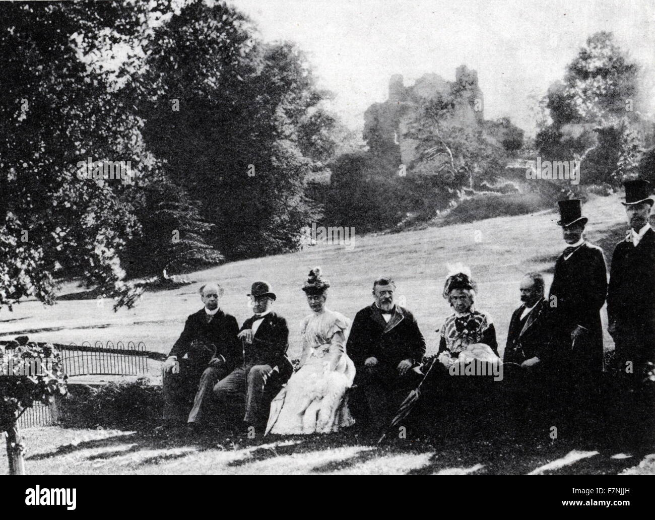 New Zealand Prime Minister Richard John Seddon 1897 At Hawarden Castle with British Prime Minister William Gladstone. - Stock Image