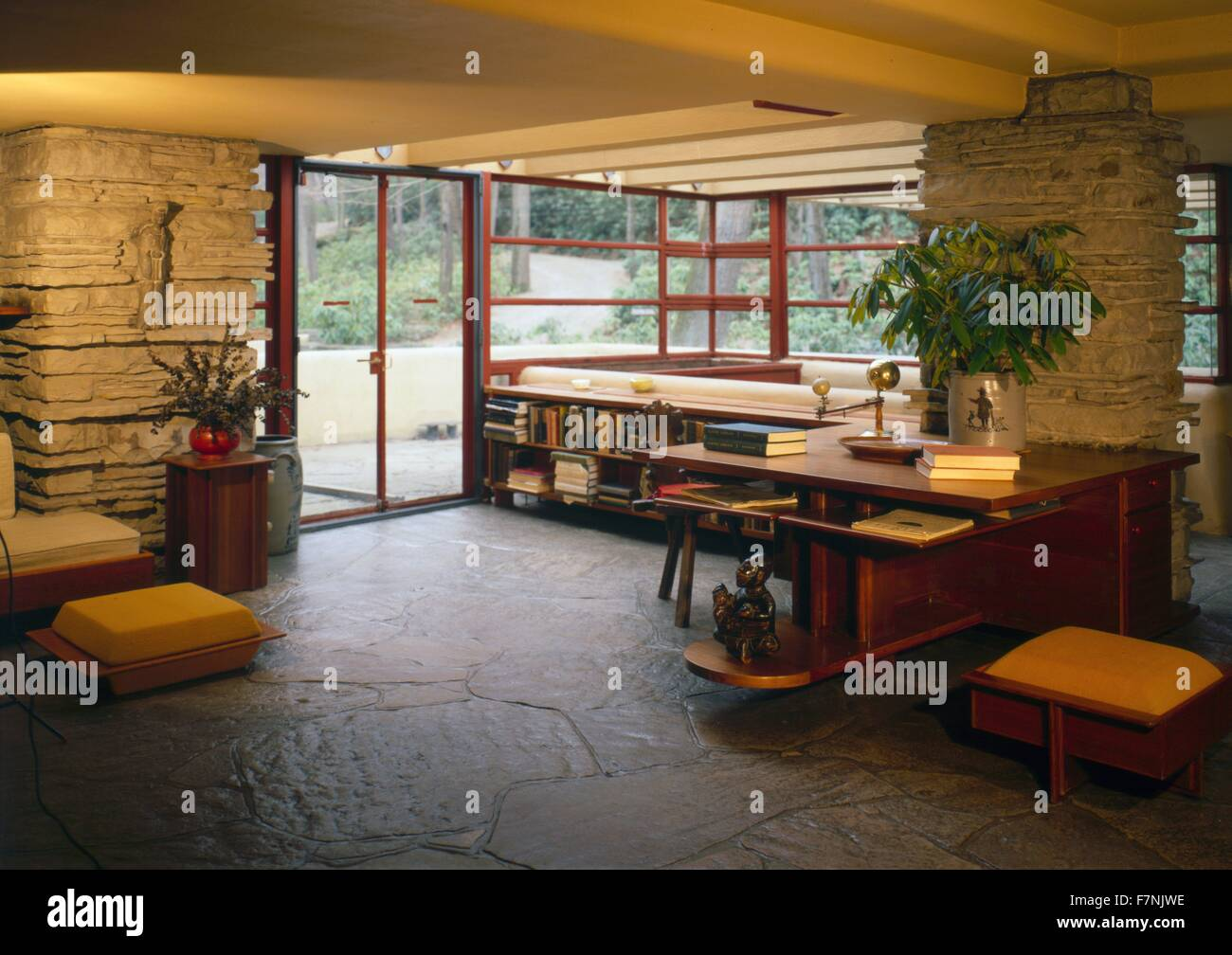 Interior view showing living room at fallingwater or kaufmann residence is a house designed by architect frank lloyd wright in 1935 in rural southwestern