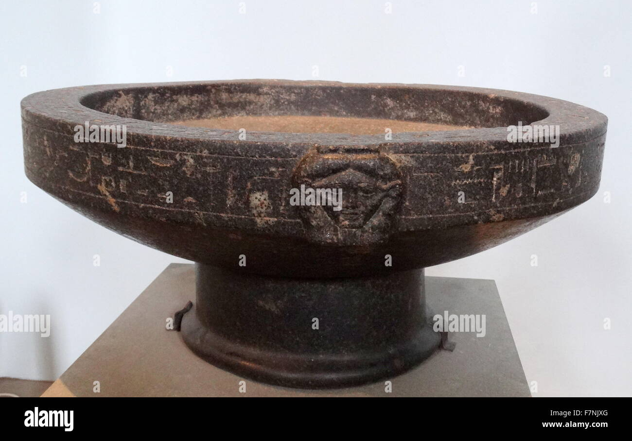 Libation bowl of Montuemhat from Upper Egypt, Thebes, South Karnak, Temple of Mut. Dated 26th Dynasty - Stock Image