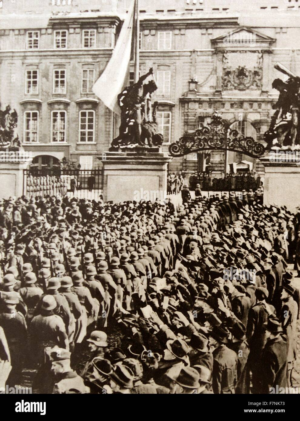 On 16 March 1939, the German Wehrmacht moved into of Czechoslovakia and, from Prague Castle, Hitler proclaimed Bohemia - Stock Image