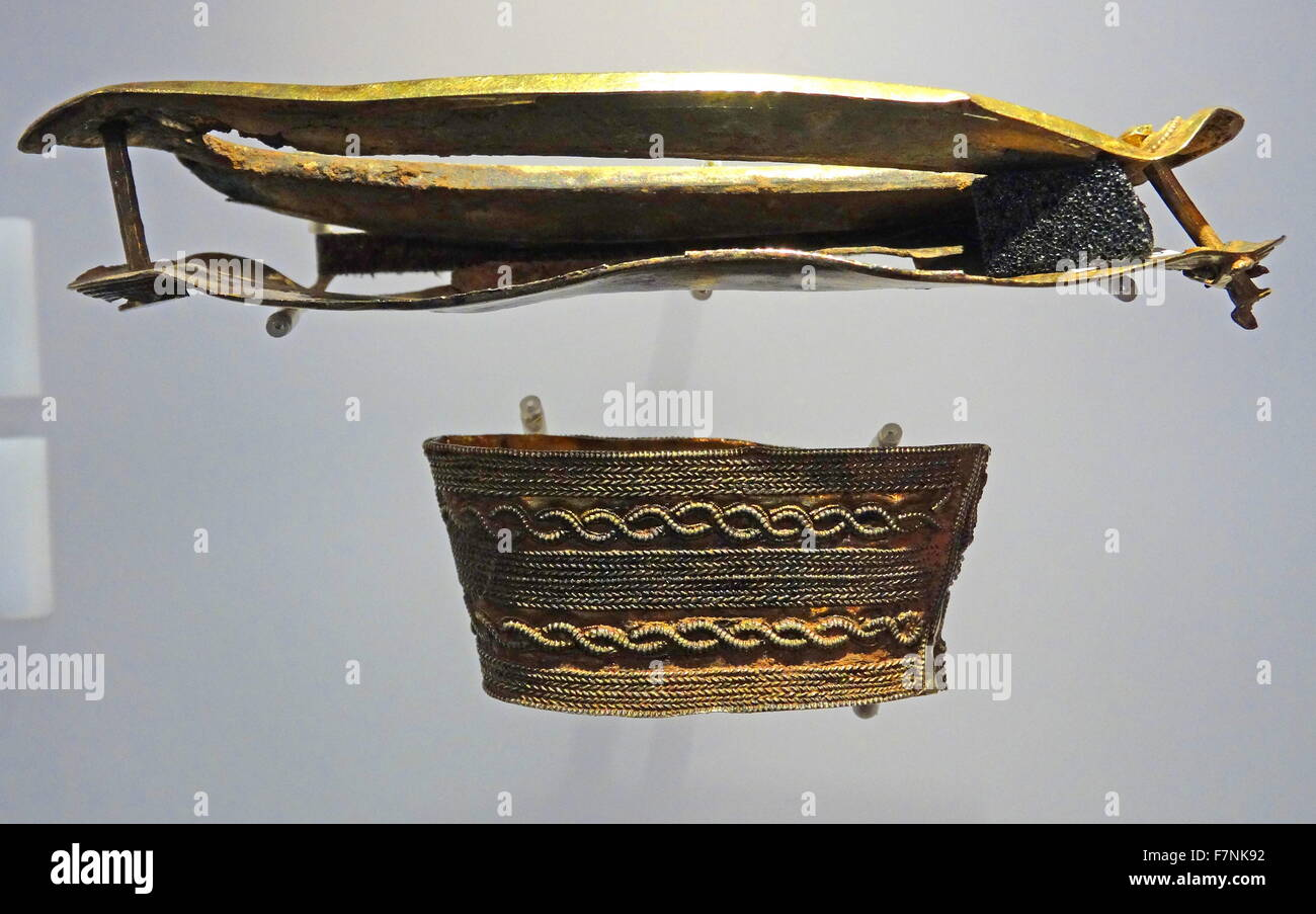 Lower hilt collar and guard from a sword. Dated 6th Century - Stock Image