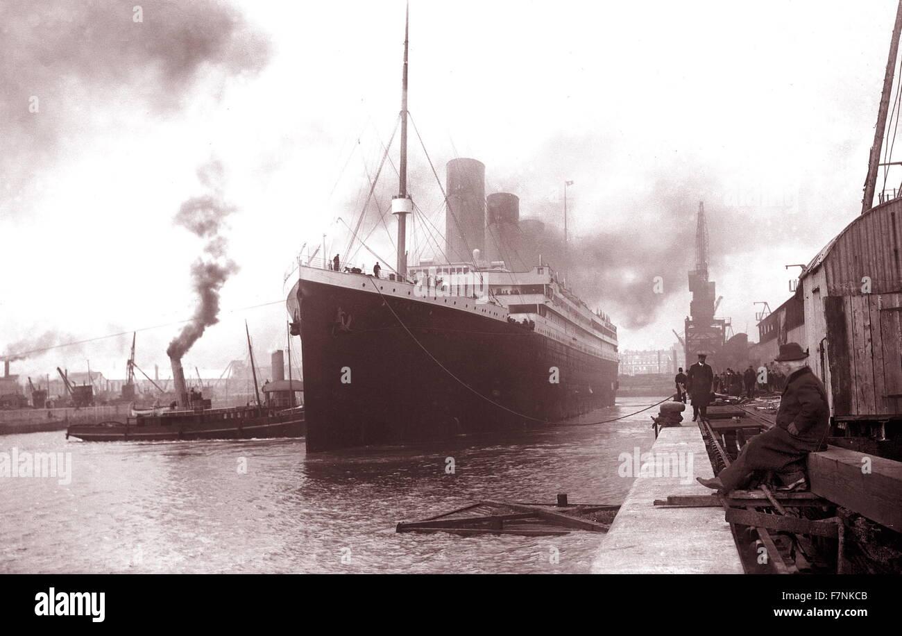 the SS Titanic leaving Southampton on April the 10th 1912 - Stock Image