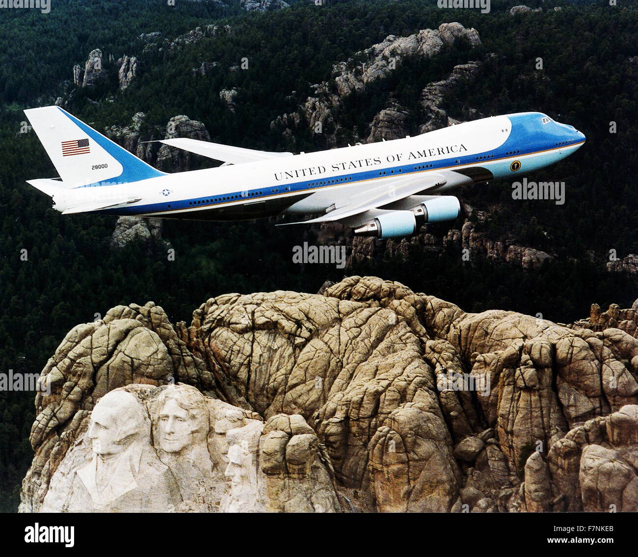 Air Force One, the air transport of the President of the United States of America, flying over Mount Rushmore. 2001 - Stock Image